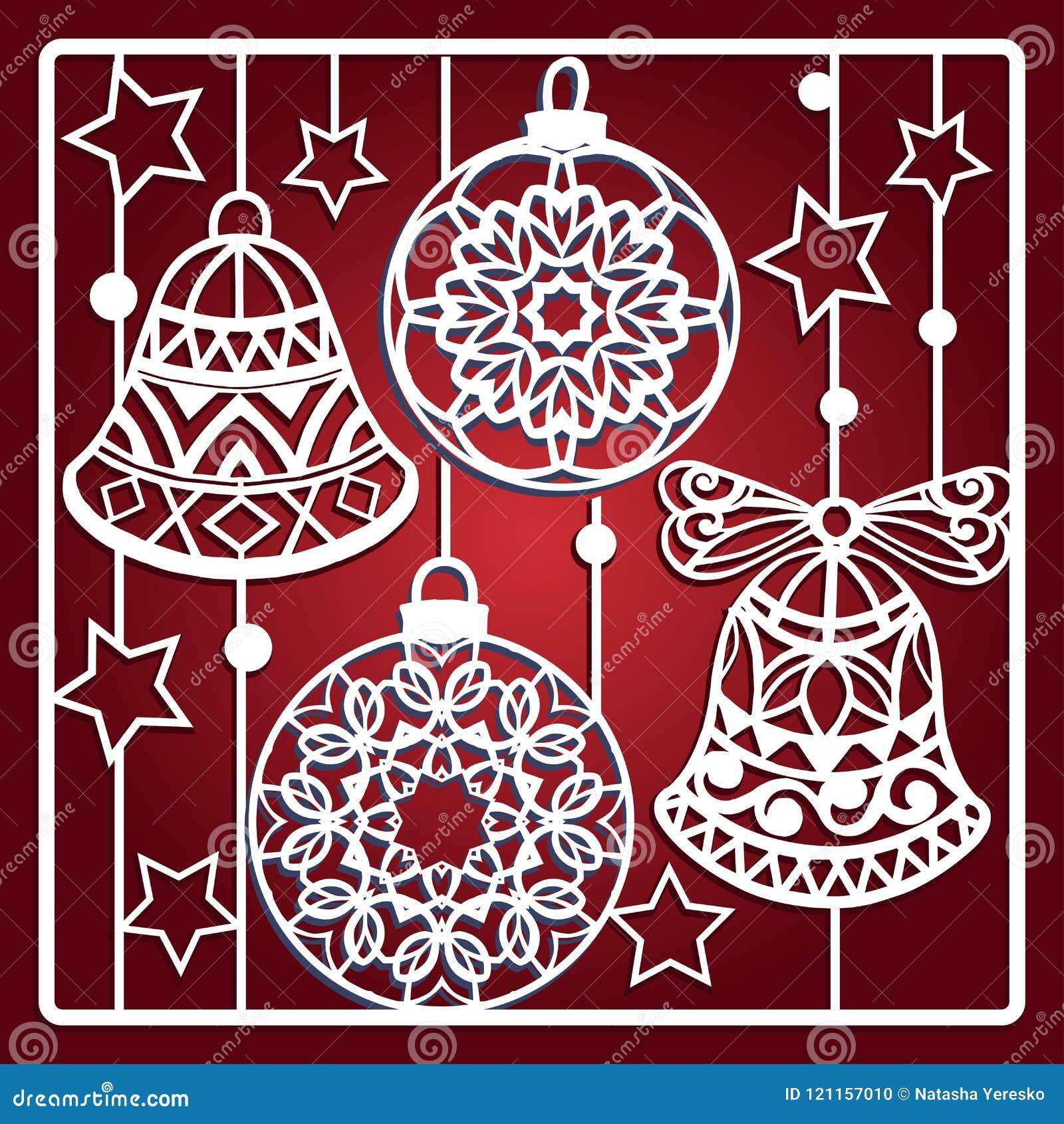Carte de Noël avec des cloches pour la coupe de laser