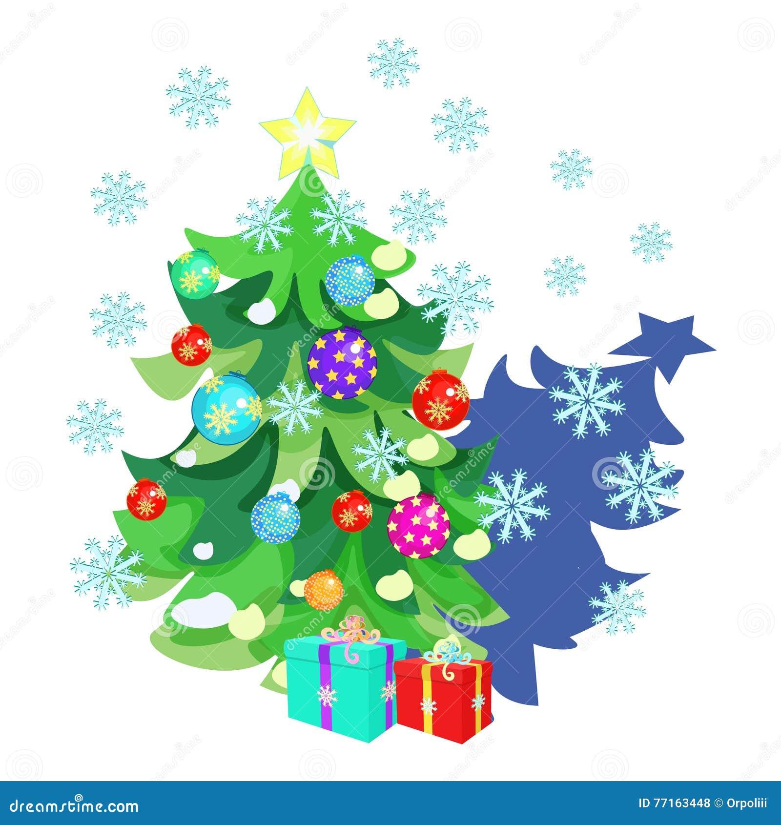 Carte de Noël avec des jouets, cadeaux, arbre de Noël, flocons de neige