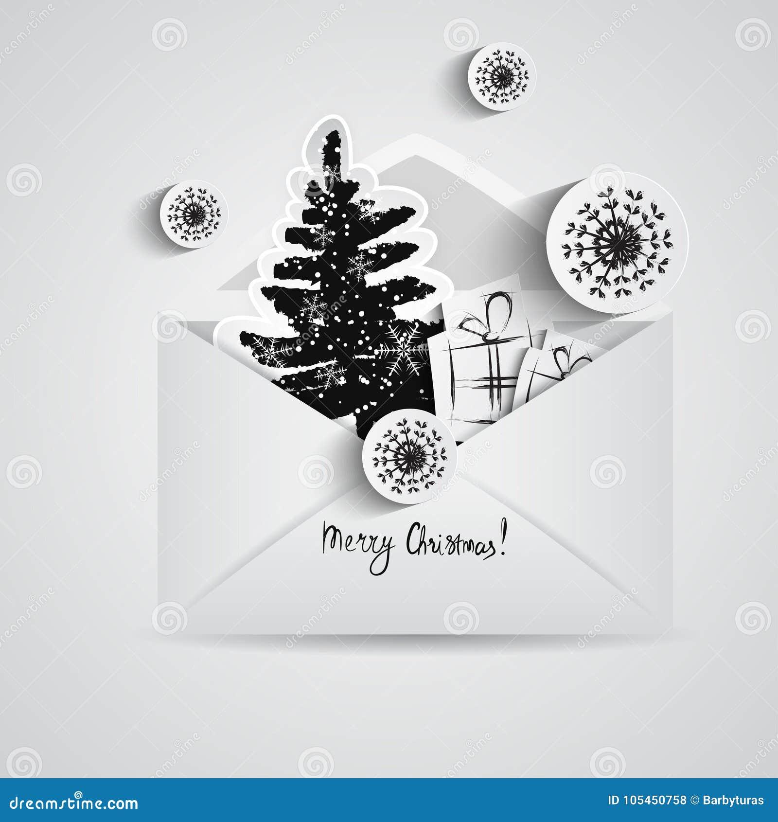 Carte De Noël Avec L'enveloppe Ouverte De Papier D'intérieur De