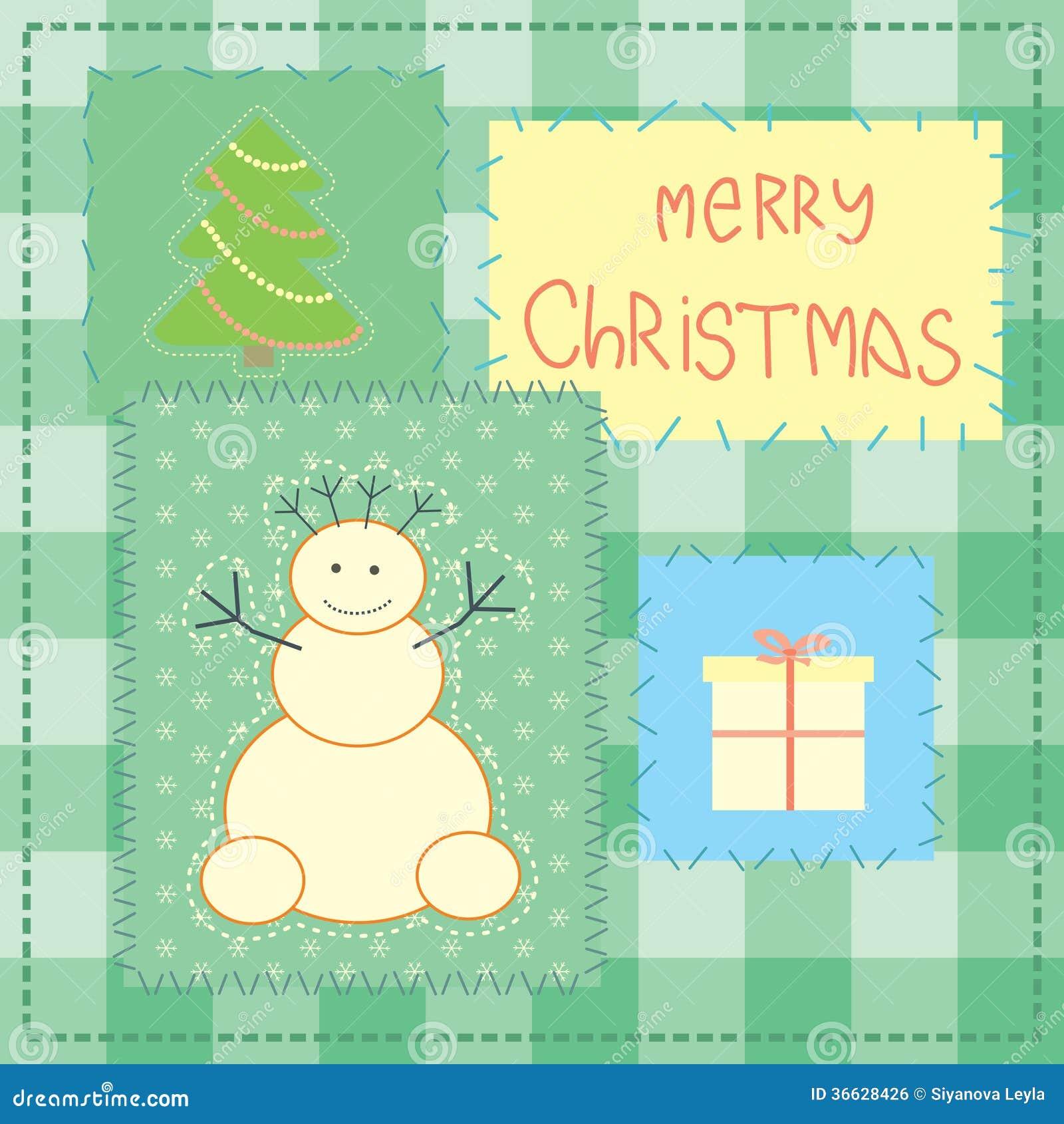 Carte de Noël avec le bonhomme de neige de patchwork