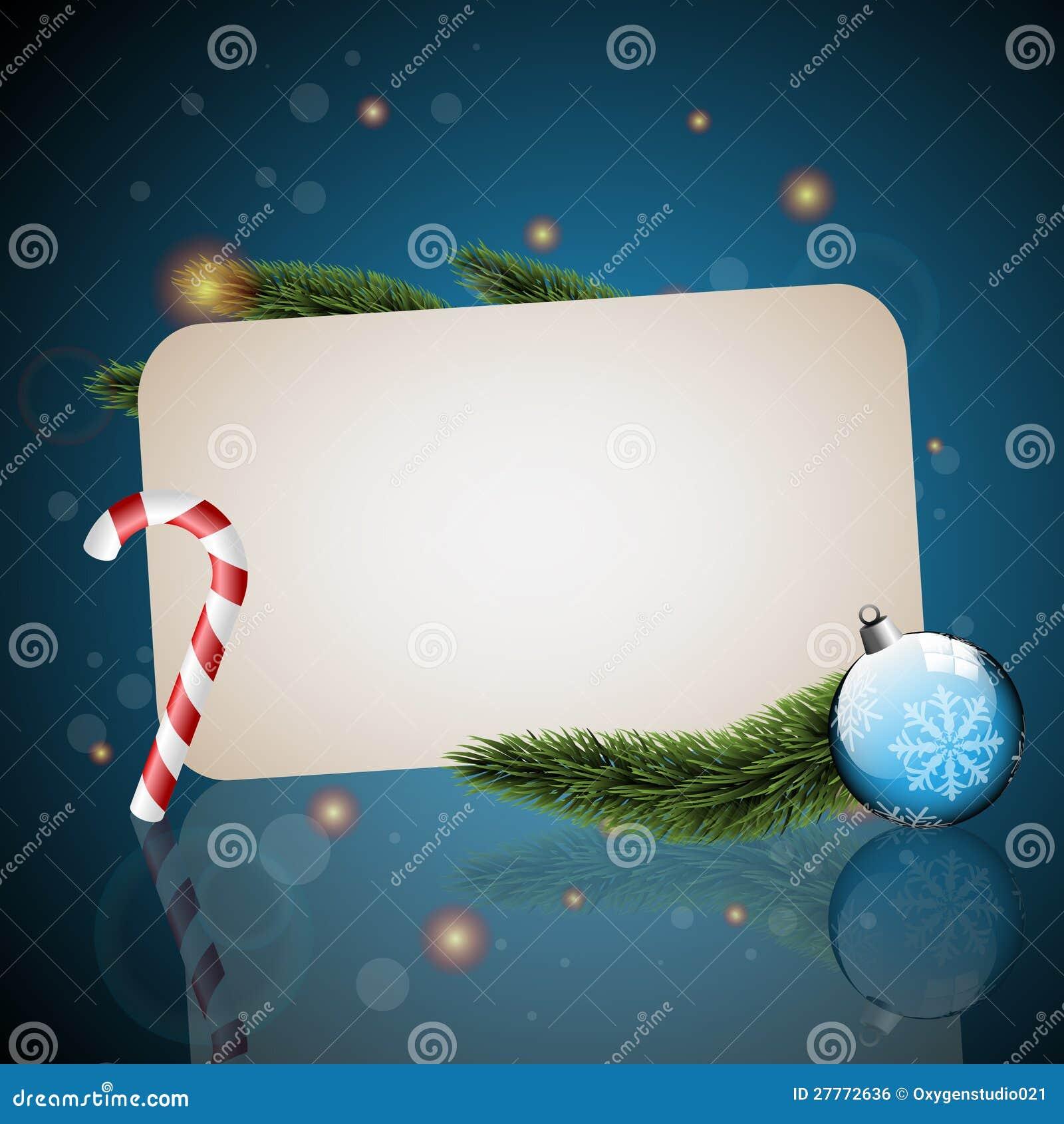 Carte de Noël avec le fond bleu