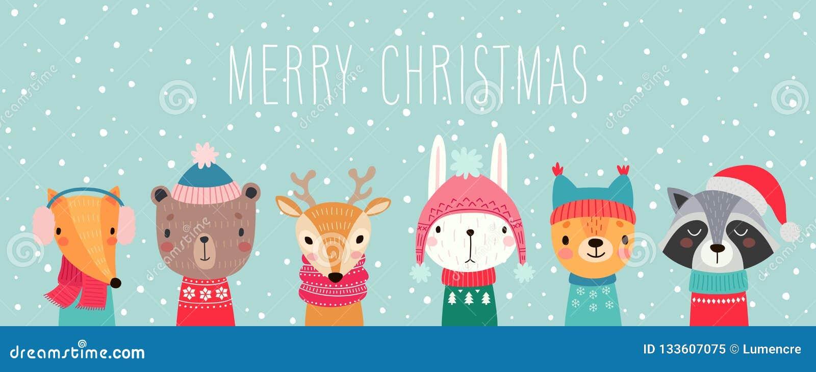 Carte de Noël avec les animaux mignons Caractères tirés par la main Insectes de salutation