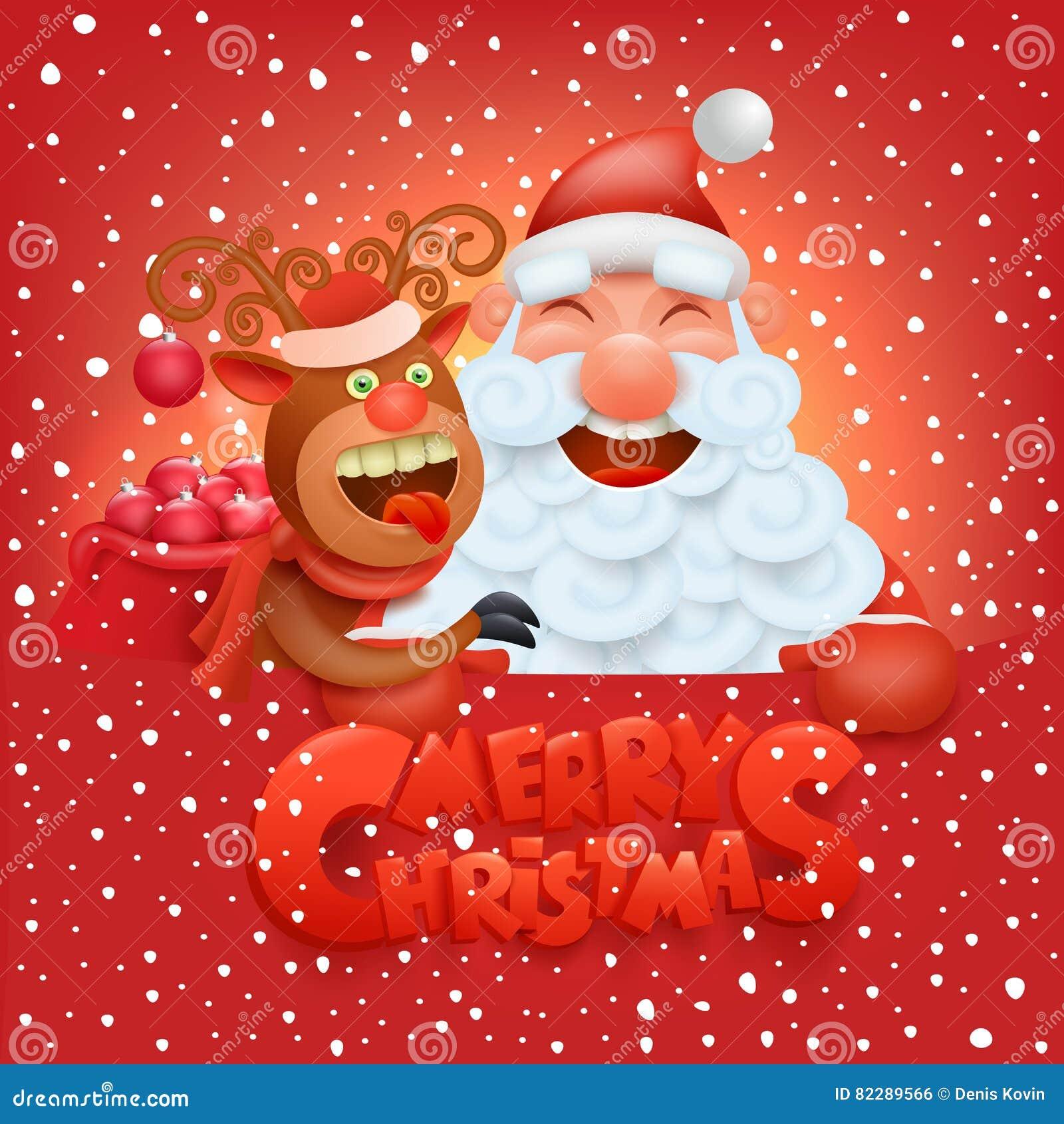 Carte De Noel Droles.Carte De Noël D Invitation Avec Les Caractères Drôles Du