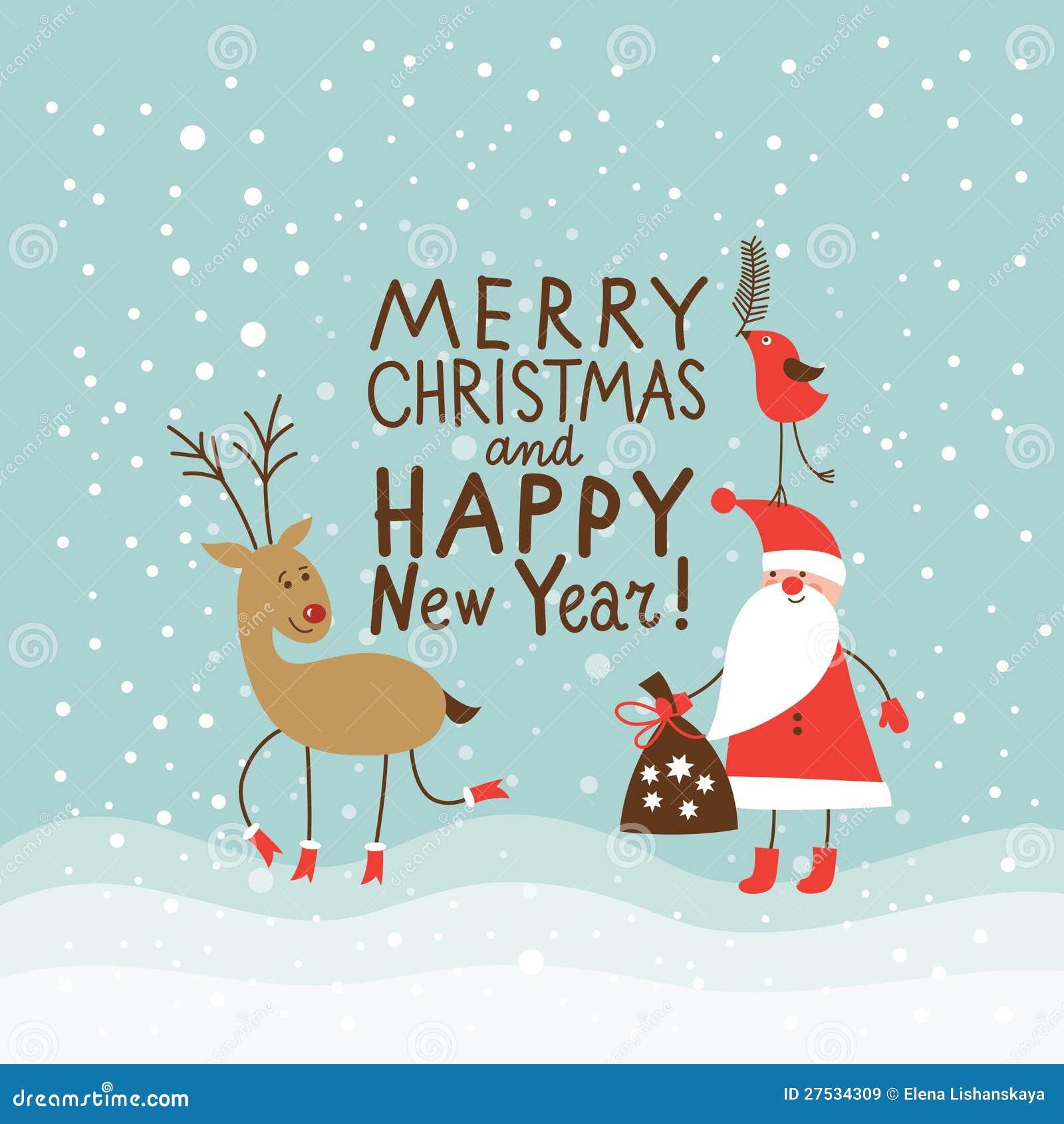 Carte de Noël de salutation et d an neuf