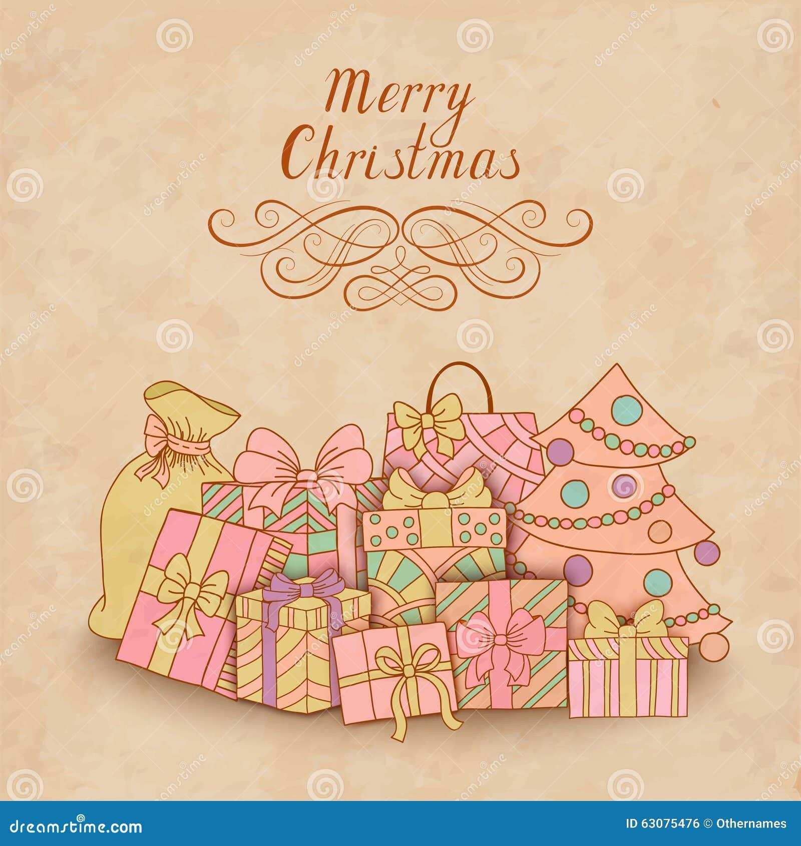 Download Carte De Noël De Vintage Avec Des Boîte-cadeau Illustration de Vecteur - Illustration du décor, delivery: 63075476
