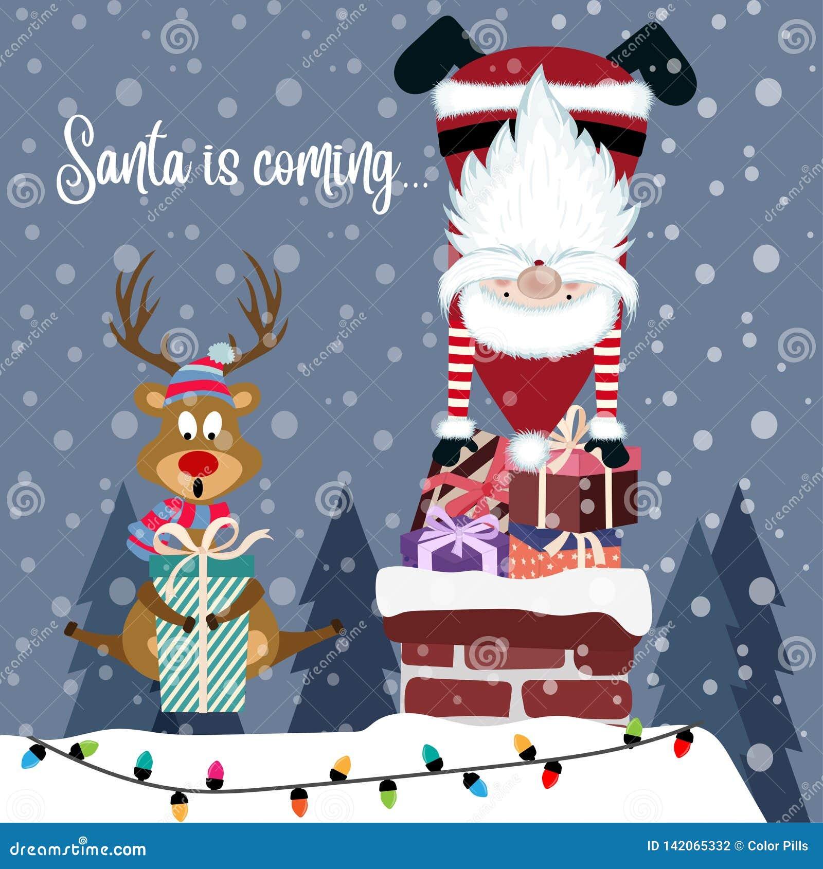 Carte De Noël Drôle Avec Santa Et Renne Illustration de Vecteur