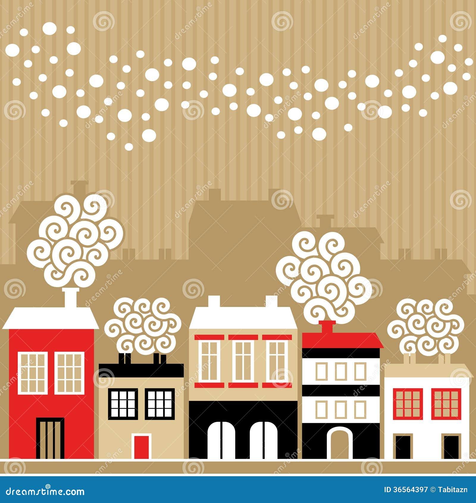 Carte de Noël mignonne avec des maisons d hiver, flocons de neige en baisse, illustration