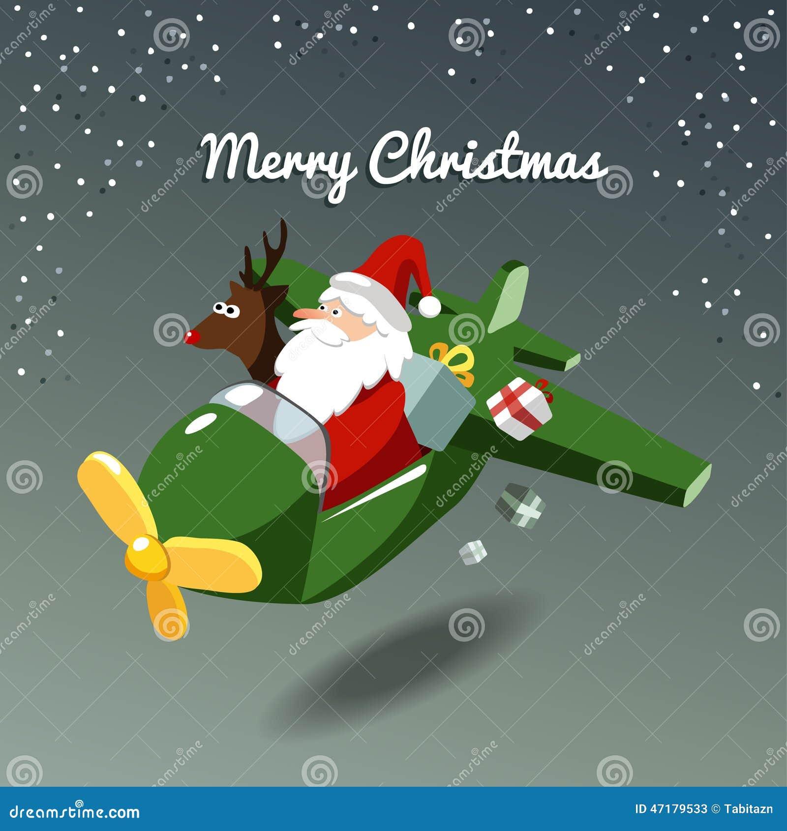 6875fe8525d0 Carte de Noël mignonne avec le père noël et le renne Rudolph pilotant  l avion, fond d illustration
