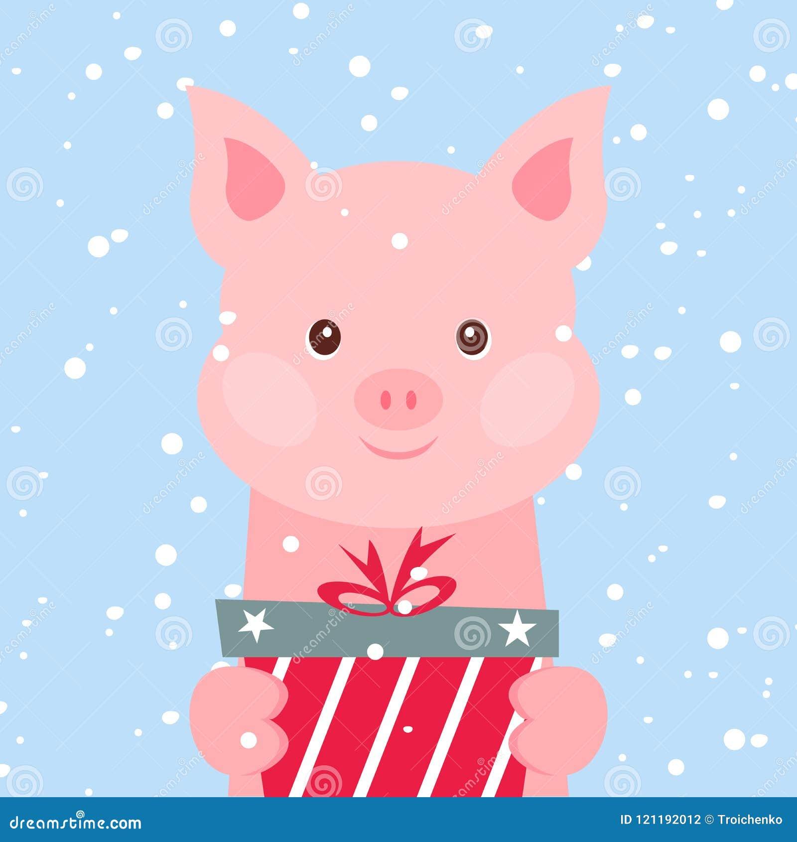 Carte de Noël Portrait de porc rose avec le boîte-cadeau, flocon de neige Visage drôle de bande dessinée d un porc Illustration d