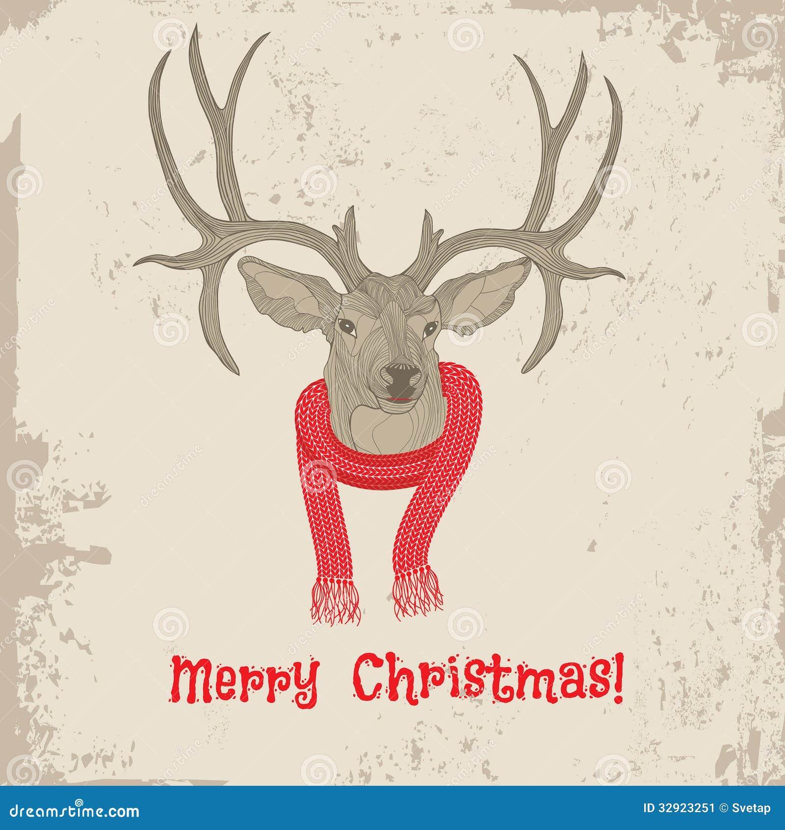Carte de Noël principale de vintage de cerfs communs