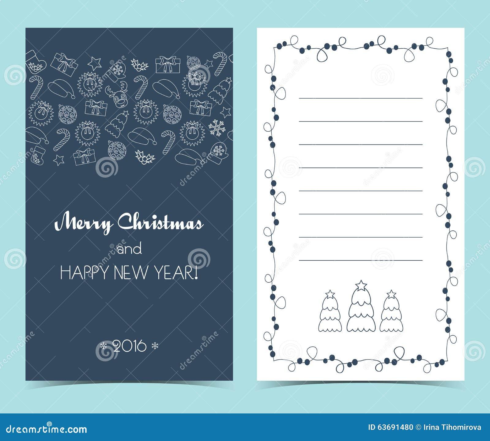 Carte De Noël Sur L'avant Et L'intérieur Ligne Sans Couture
