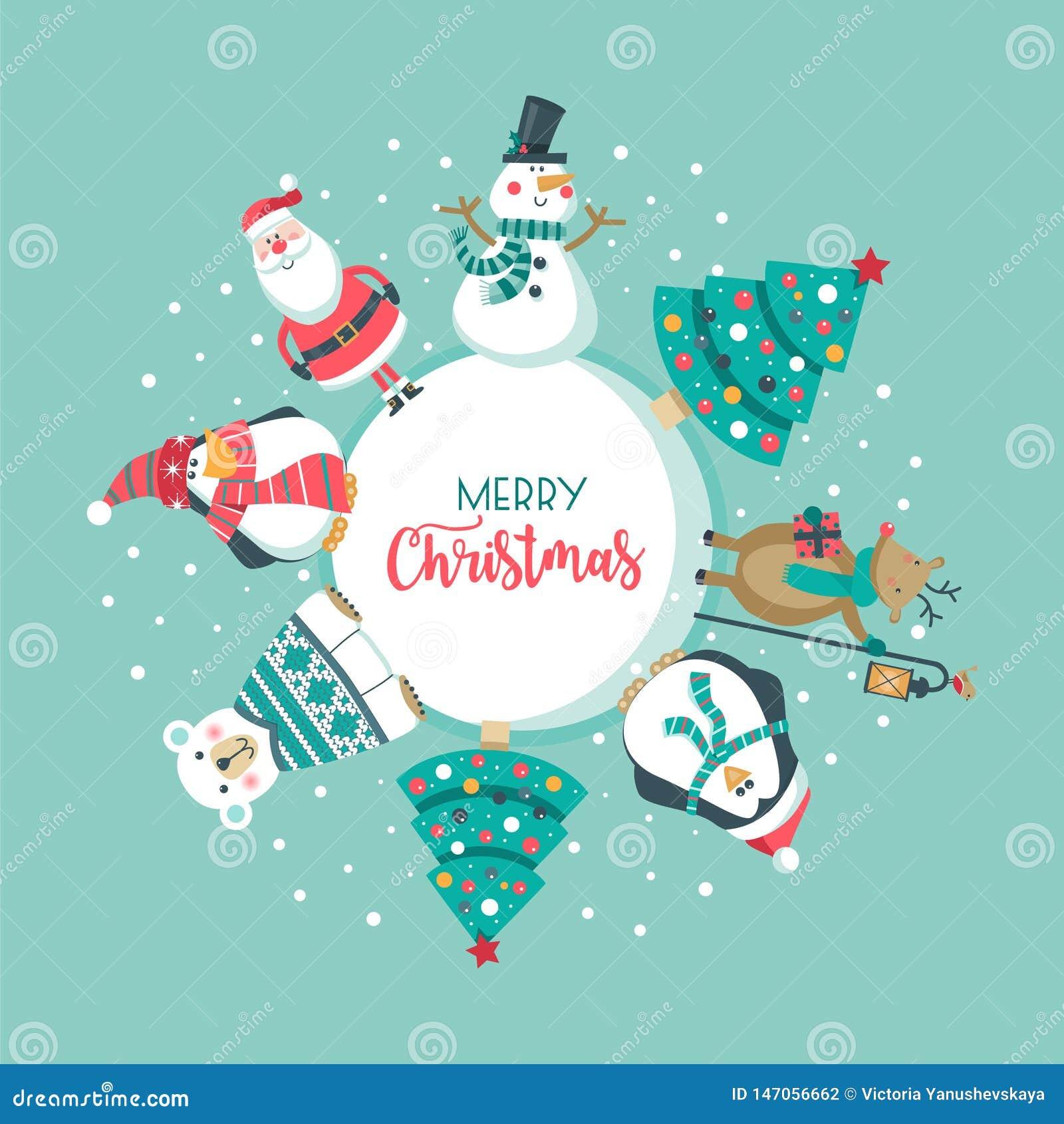 Carte de No?l avec Santa, arbre ours blanc, bonhomme de neige, cerfs communs et pingouin ,