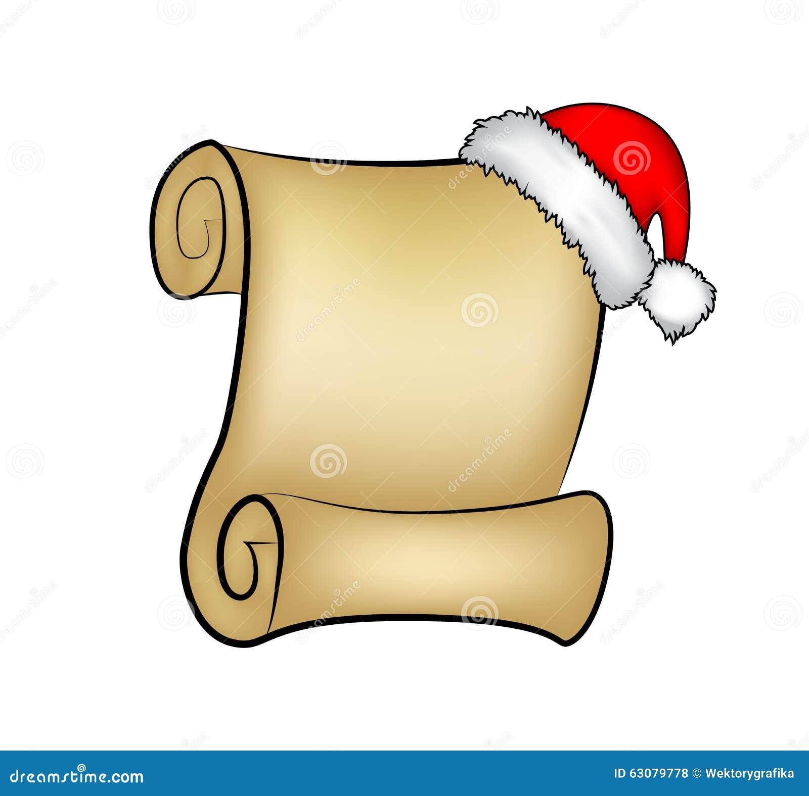 Download Carte De Papier De Rouleau De Noël Avec Le Chapeau De Santa, Chapeau Illustration De Vecteur Sur Le Fond Blanc Illustration de Vecteur - Illustration du papier, salutation: 63079778