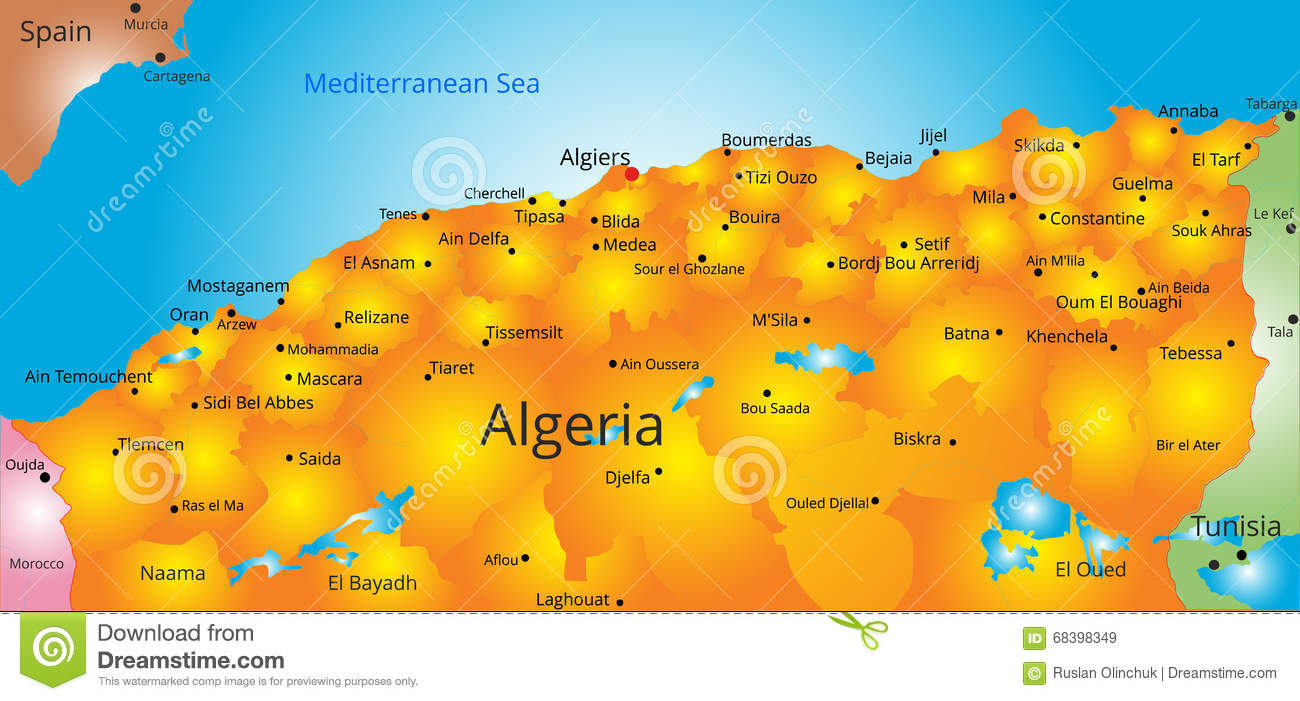 Carte Algerie Mila.Carte De Pays De L Algerie Illustration De Vecteur Illustration Du