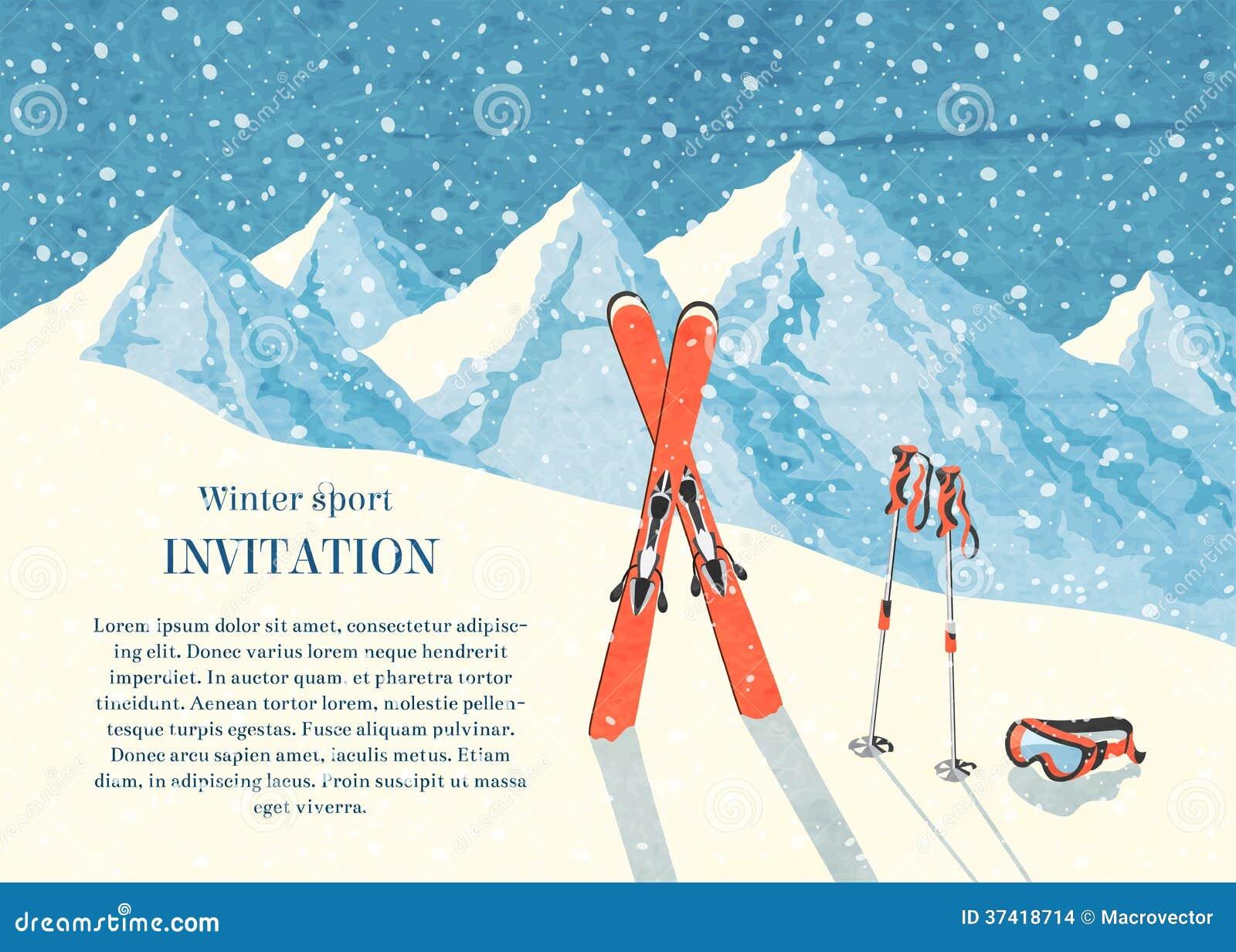 Carte De Paysage De Montagne D Hiver De Ski Illustration