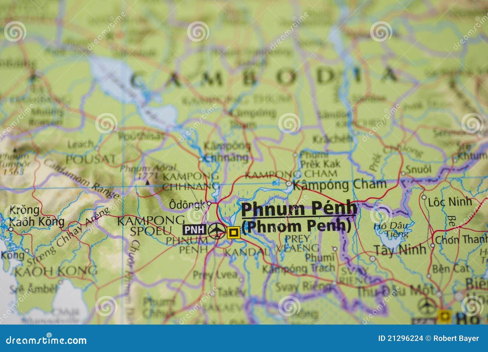 Carte de Phnom Penh Cambodge