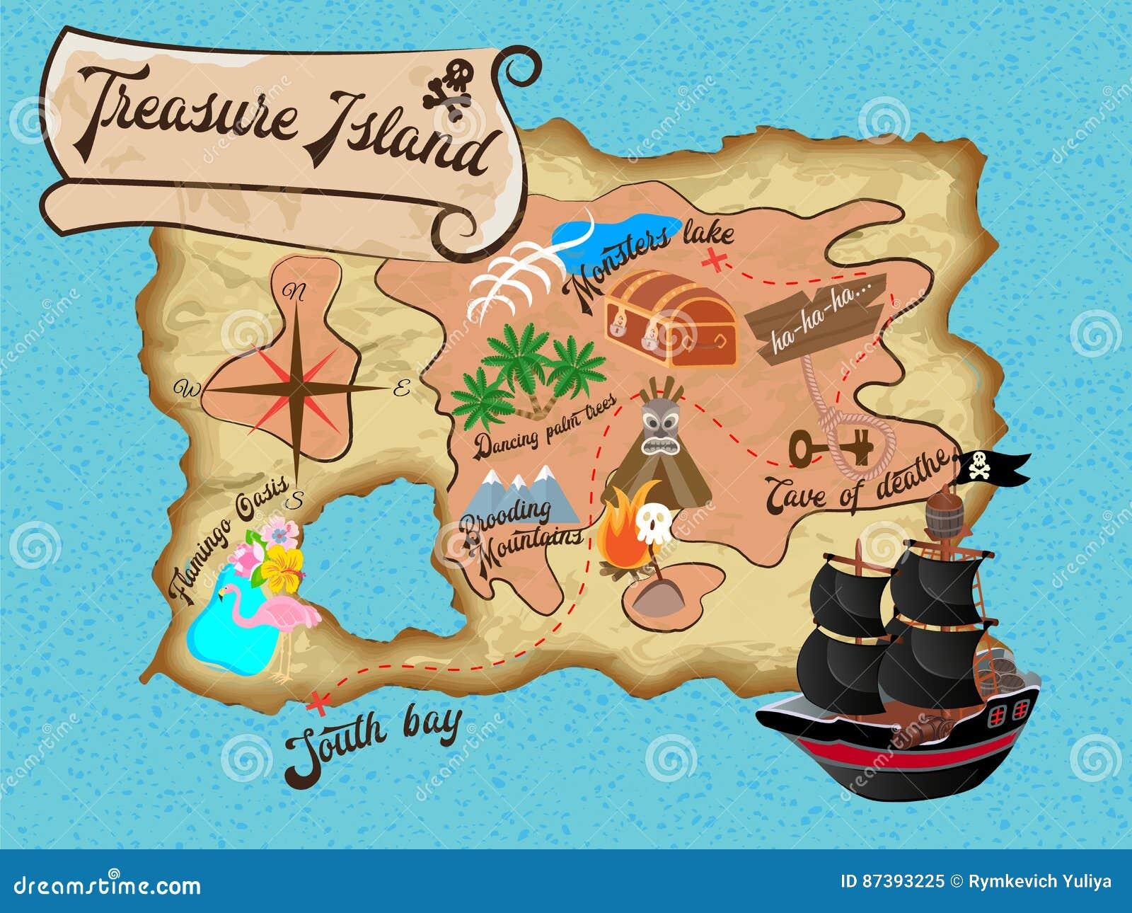 Carte De Pirate D Ile De Tresor Pour La Recherche Illustration De Vecteur Illustration Du Carte Tresor 87393225