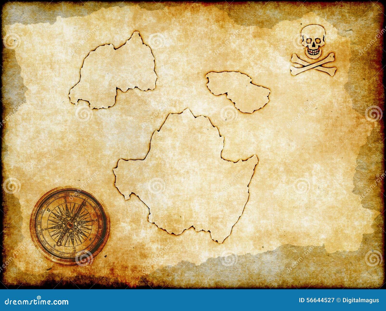 Carte De Pirate Sur Le Papier De Vintage Illustration ...