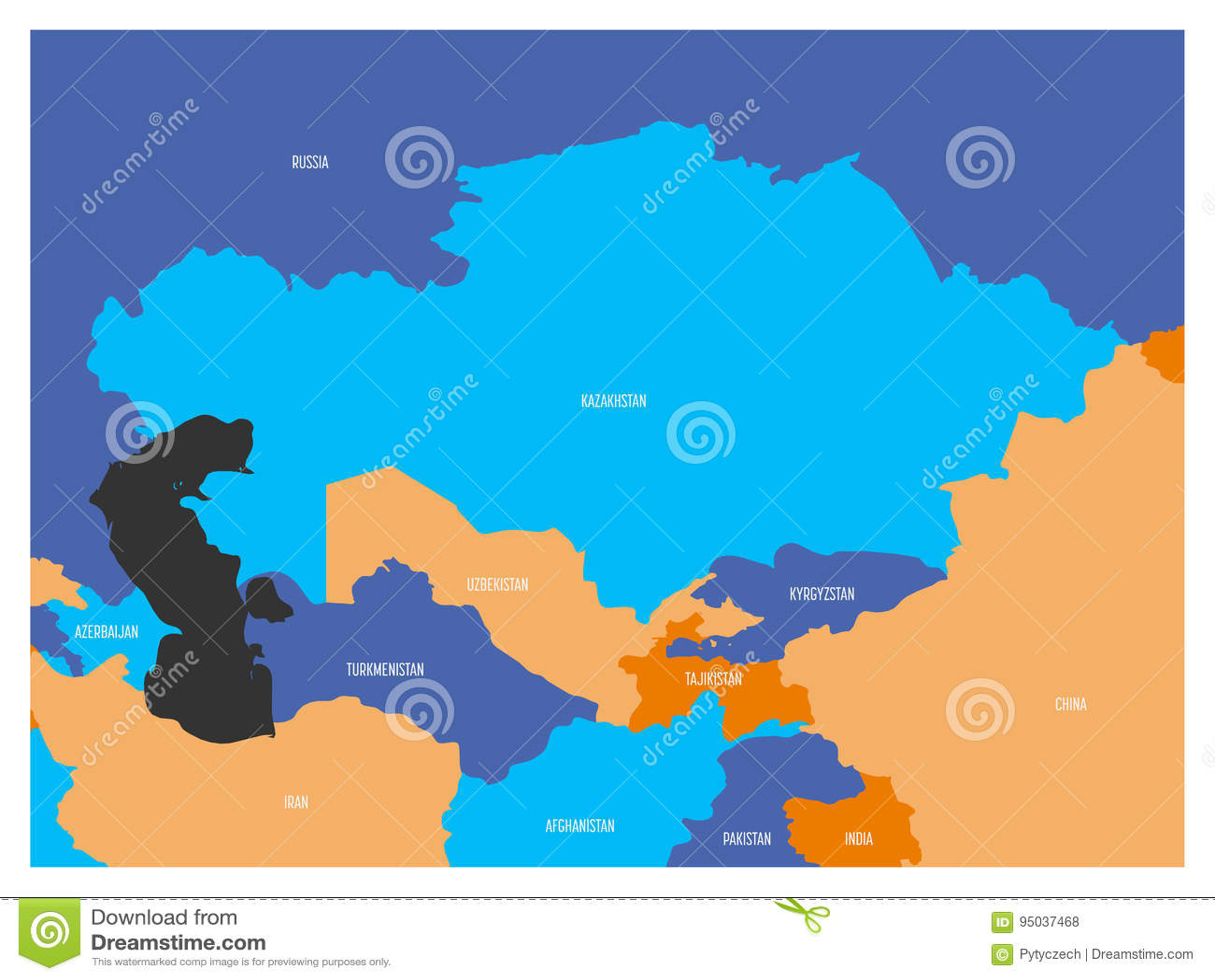 Carte Region Asie.Carte De Region De L Asie Centrale Avec Carte Plate Dans