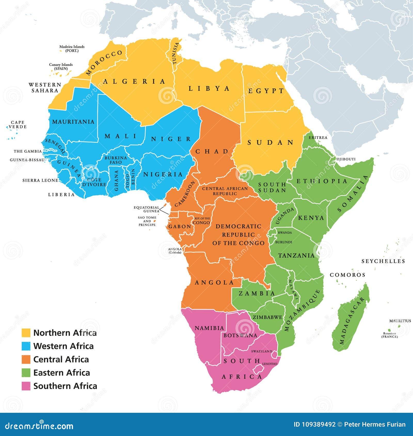 Carte De Lafrique Du Nord Avec Les Pays.Carte De Regions De L Afrique Avec Les Pays Simples