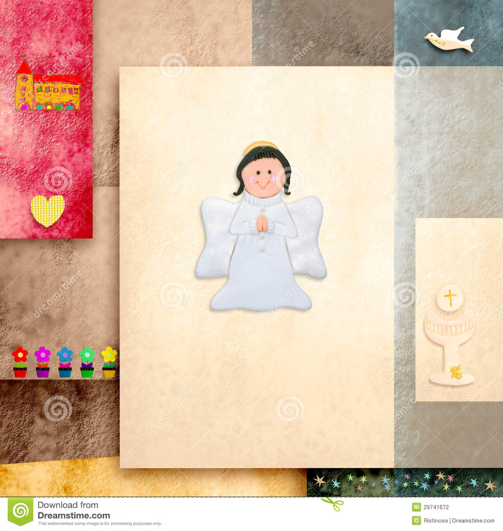 Première carte d invitation de sainte communion d ange mignon