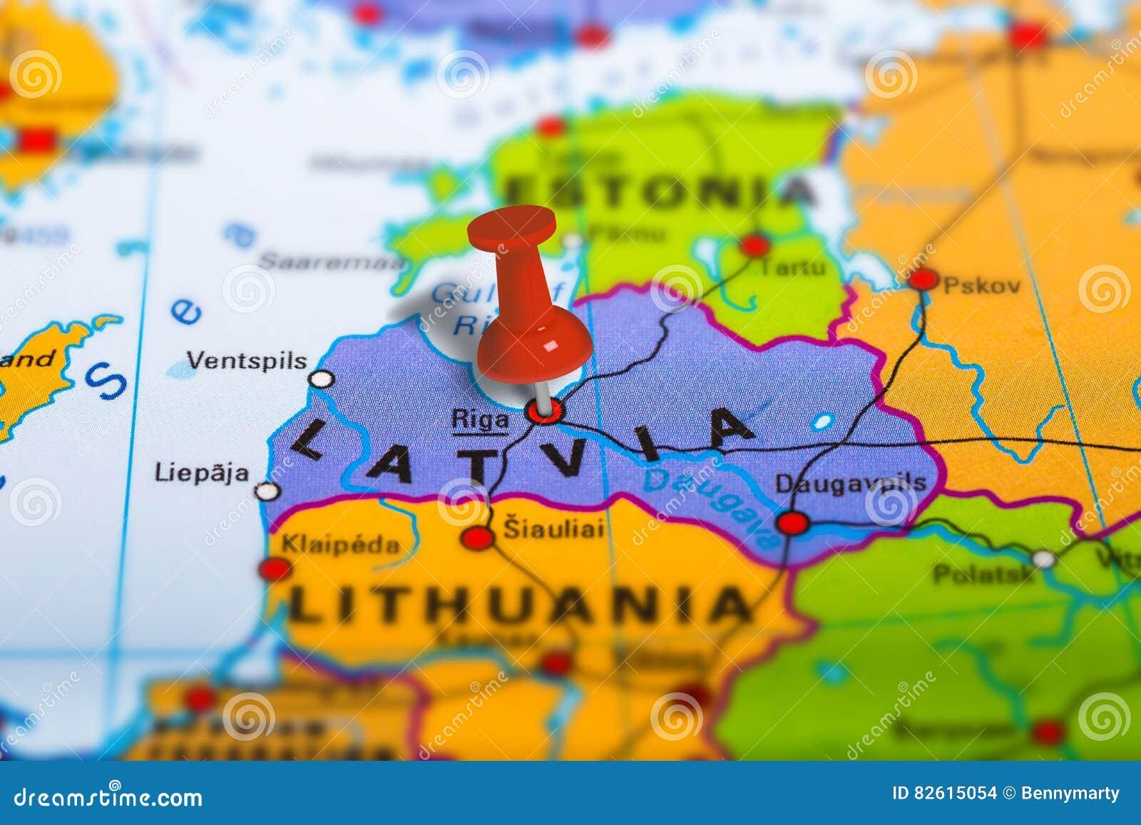 Carte de Riga Lettonie