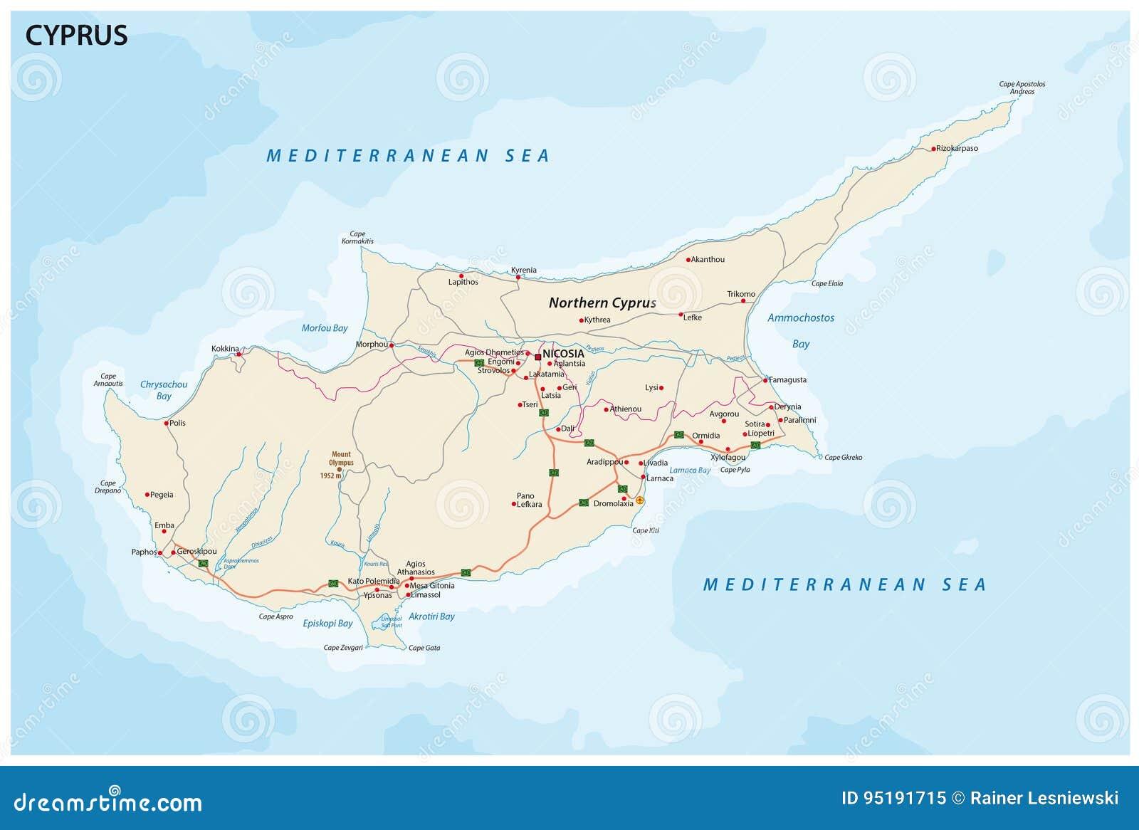 Chypre Ville Carte.Carte De Route D Ile Mediterraneenne Chypre Illustration De