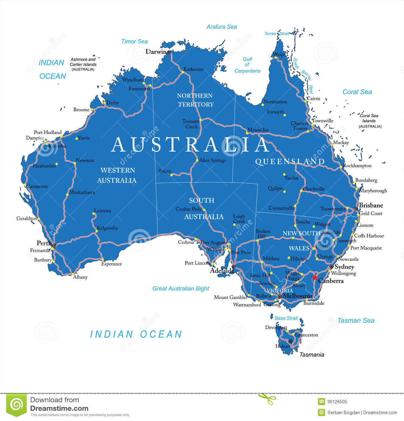 Carte Routiere Australie Gratuite.Carte De Route D Australie Illustration De Vecteur