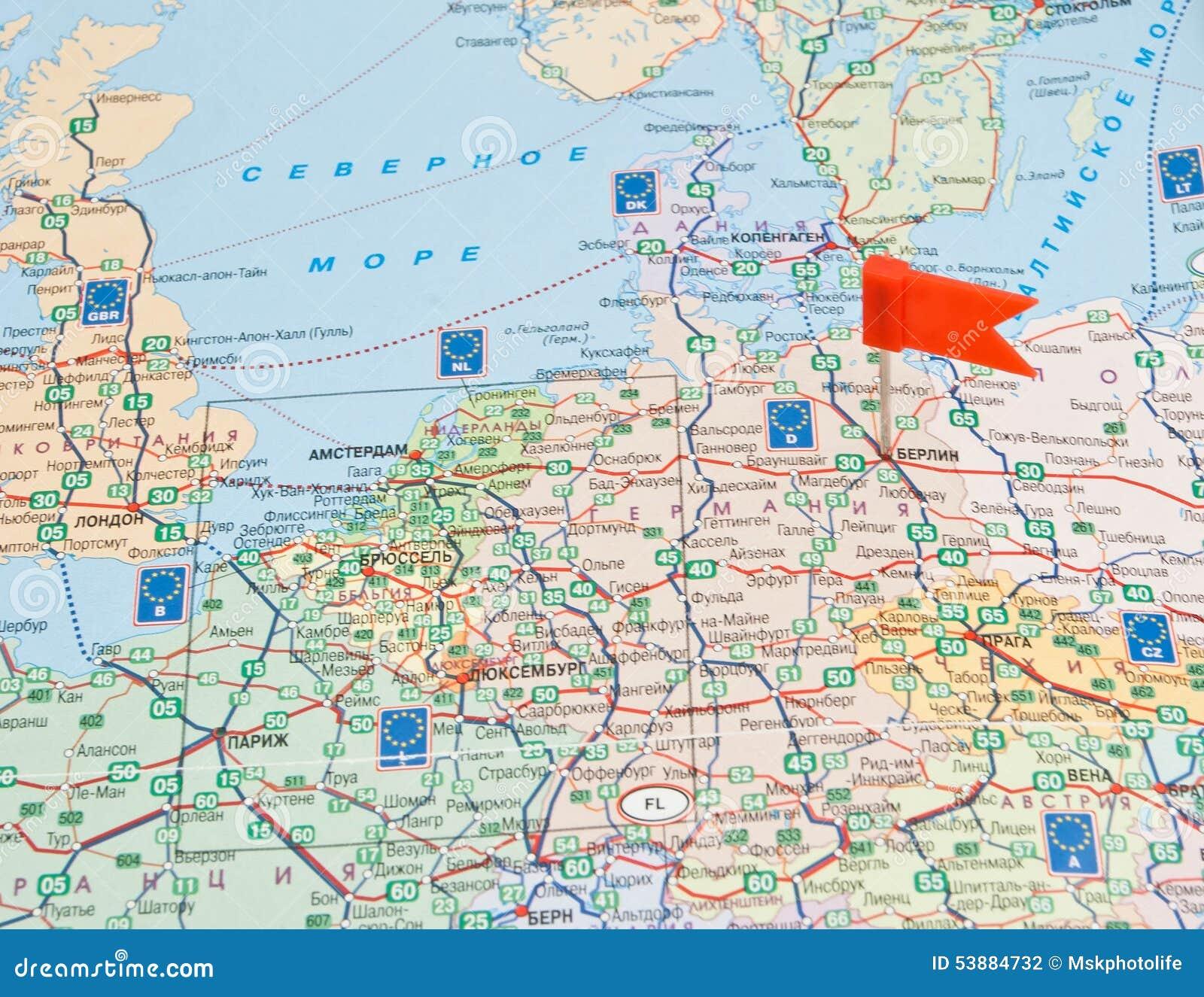 Carte Europe Routes.Carte De Route De L Europe Avec La Note Au Sujet De L