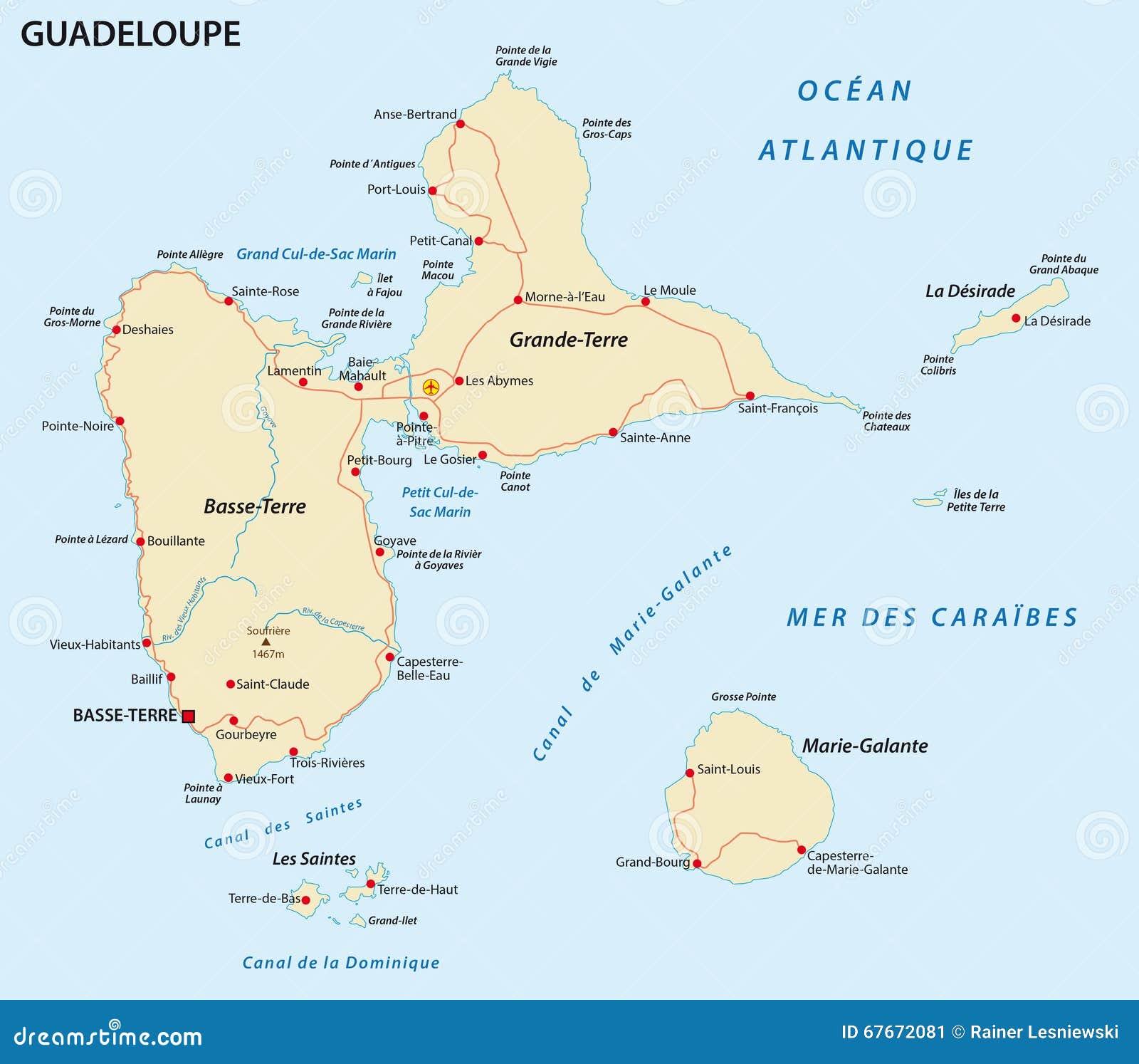 Carte De Route De La Guadeloupe Illustration Stock ...