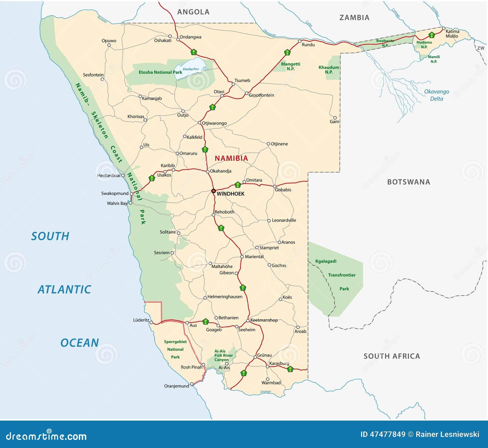 Carte De Route De La Namibie Illustration de Vecteur - Illustration du course, illustration ...