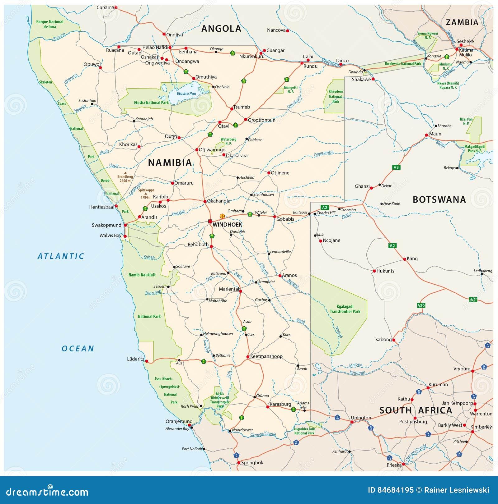 Carte Afrique Du Sud Ouest.Carte De Route Et De Parc National De L Afrique Du Sud Ouest