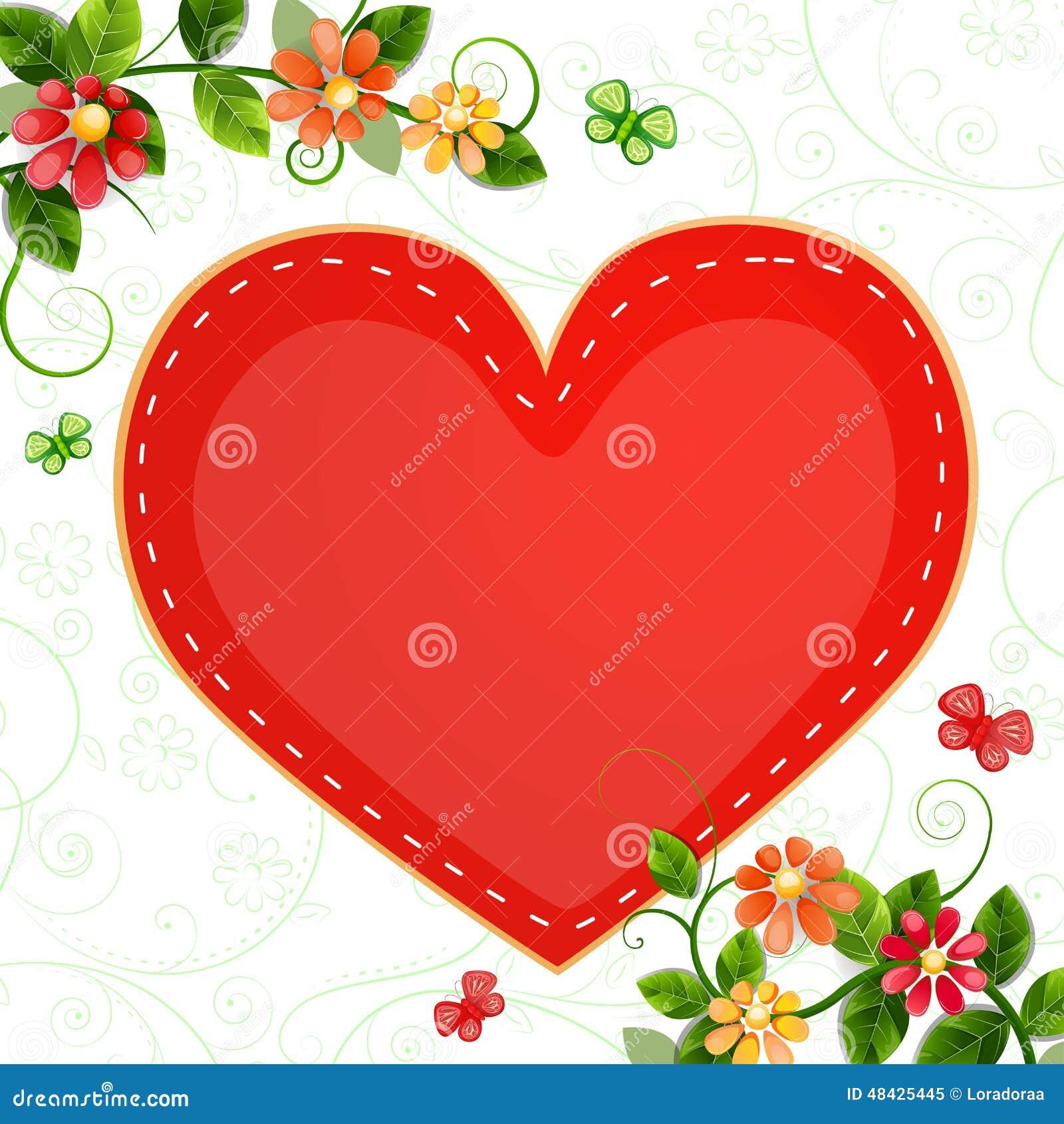 carte de saint valentin avec de belles fleurs illustration. Black Bedroom Furniture Sets. Home Design Ideas