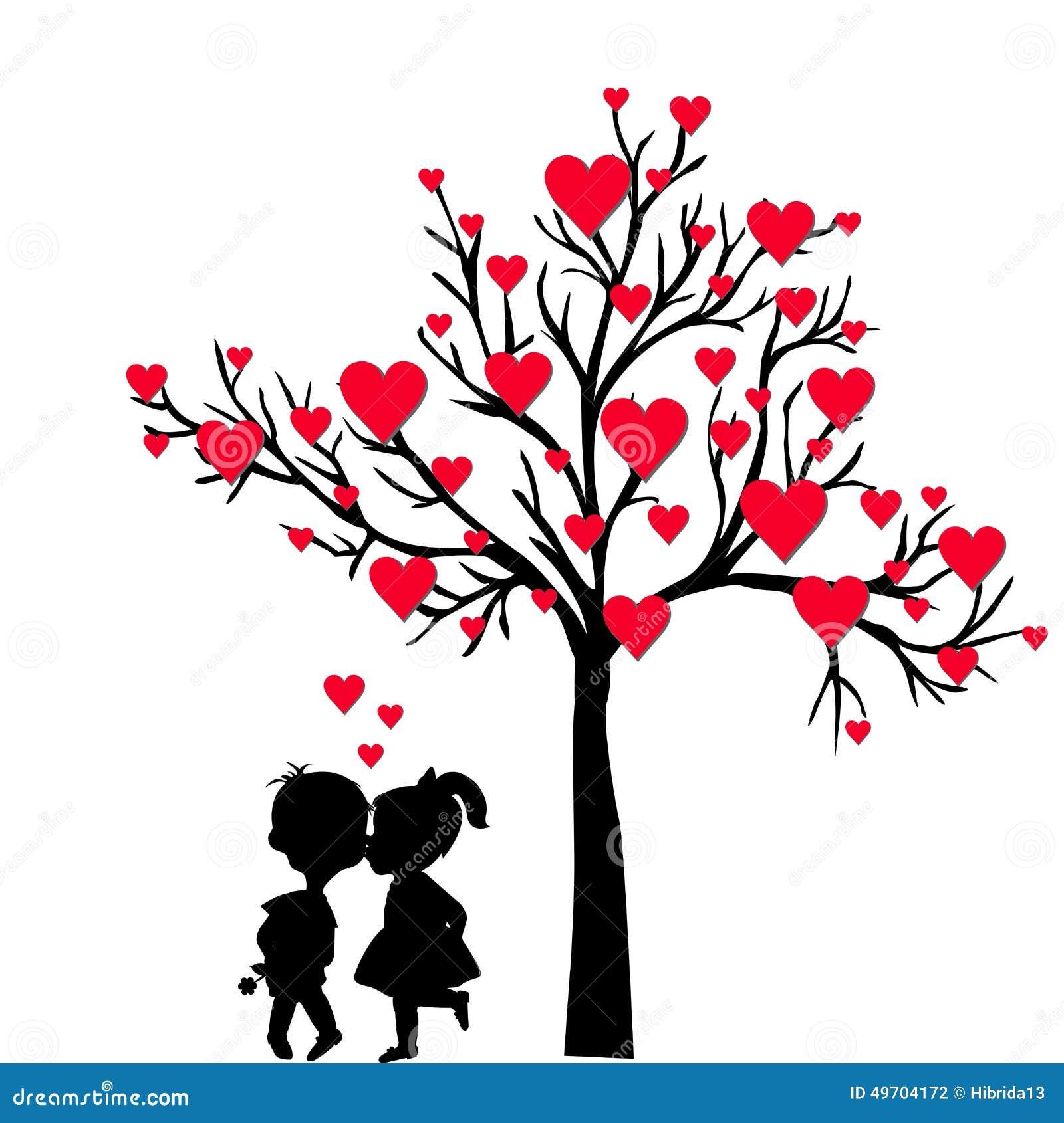 Carte De Saint-Valentin De Salutation Avec L'arbre Des Coeurs Et Du Kissi D'enfants Illustration ...
