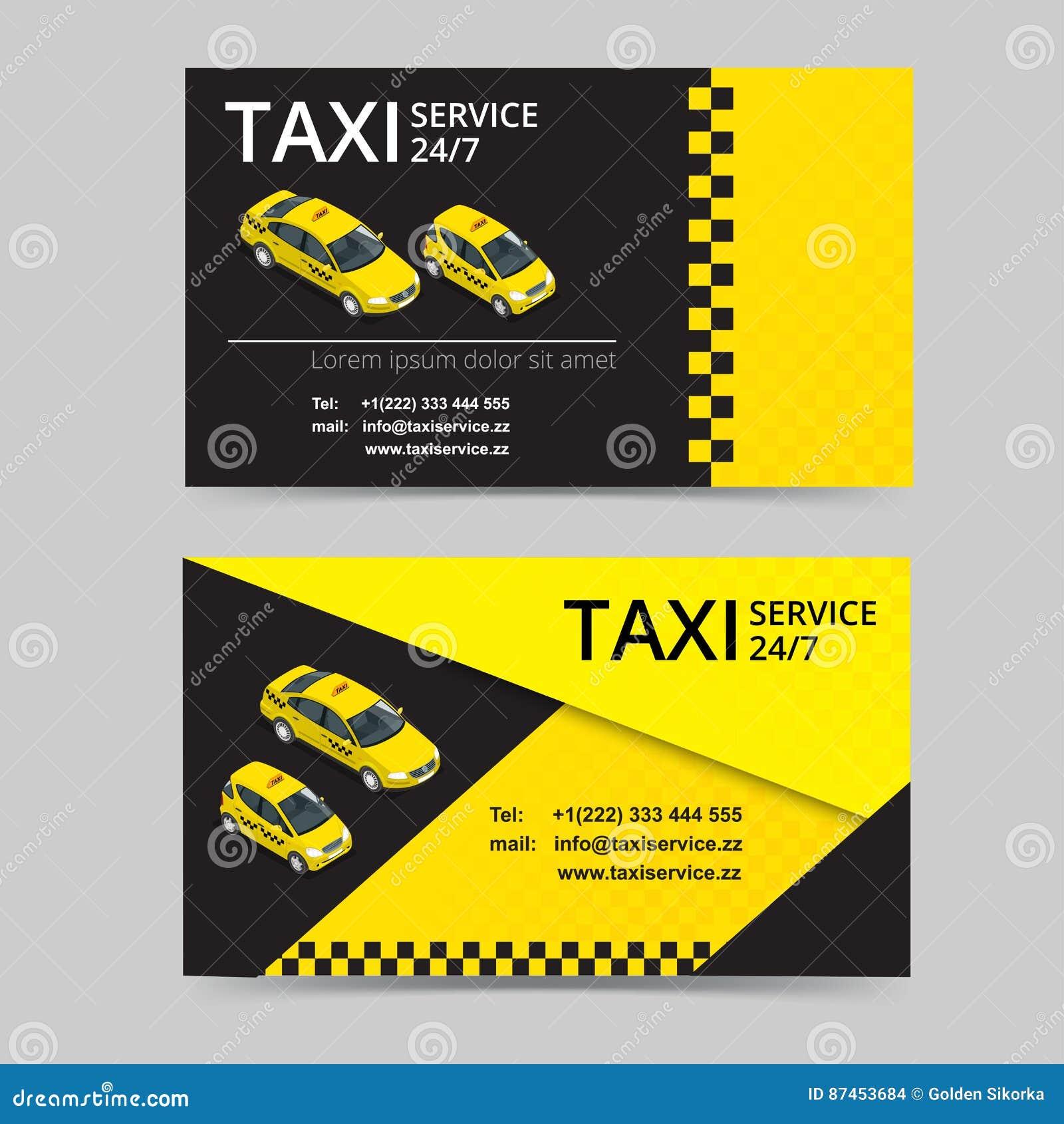 Carte De Taxi Pour Des Chauffeurs Service Calibre Visite