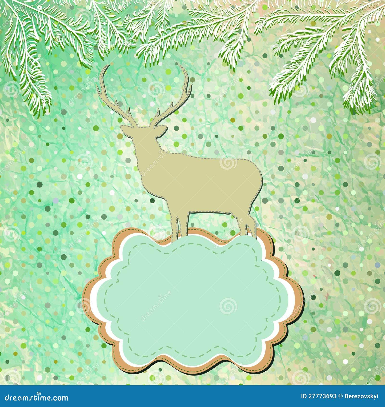 Carte de tempate de cerfs communs de Noël. ENV 8