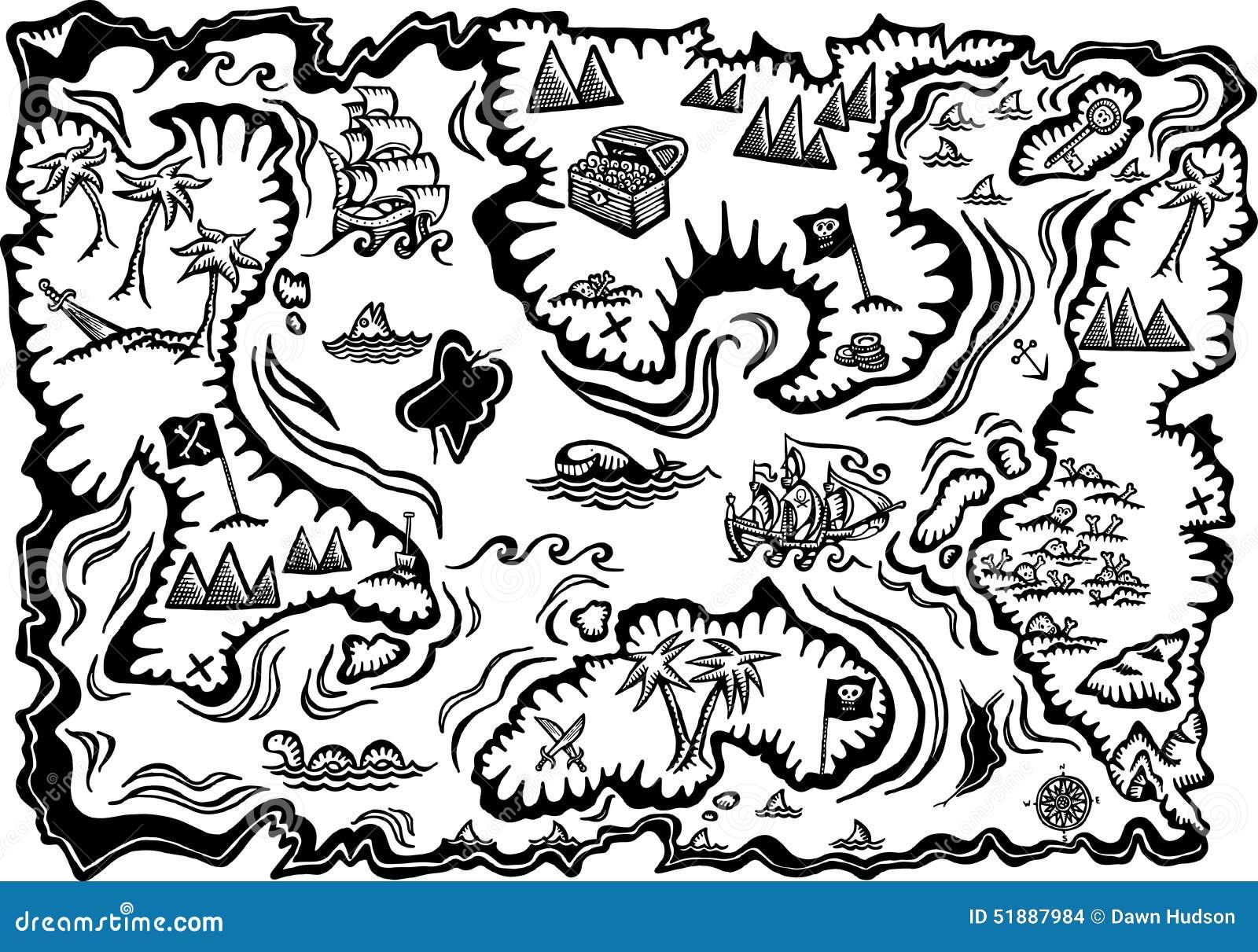 Carte Au Tresor Noir Et Blanc.Carte De Tresor Illustration Stock Illustration Du Croquis