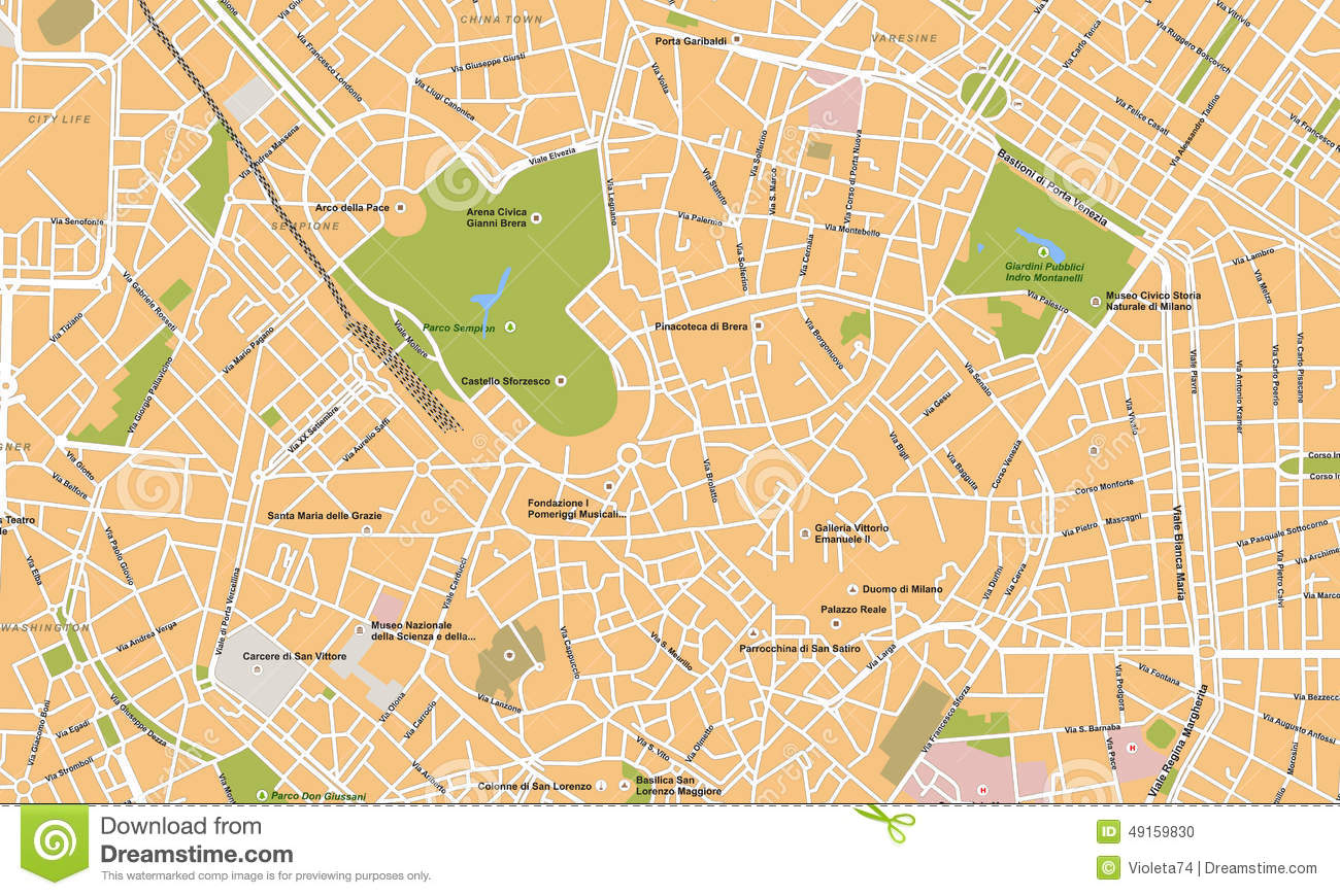 Carte De Vecteur De Ville De Milan Illustration Stock