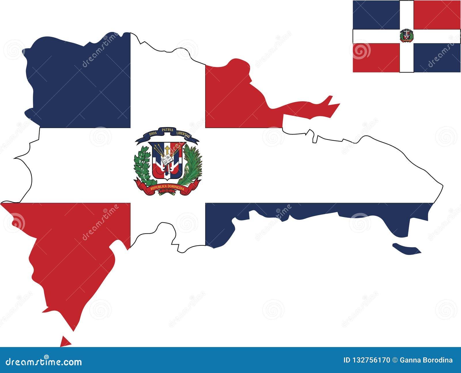 Carte de vecteur de Dominicain avec le drapeau fond d isolement et blanc