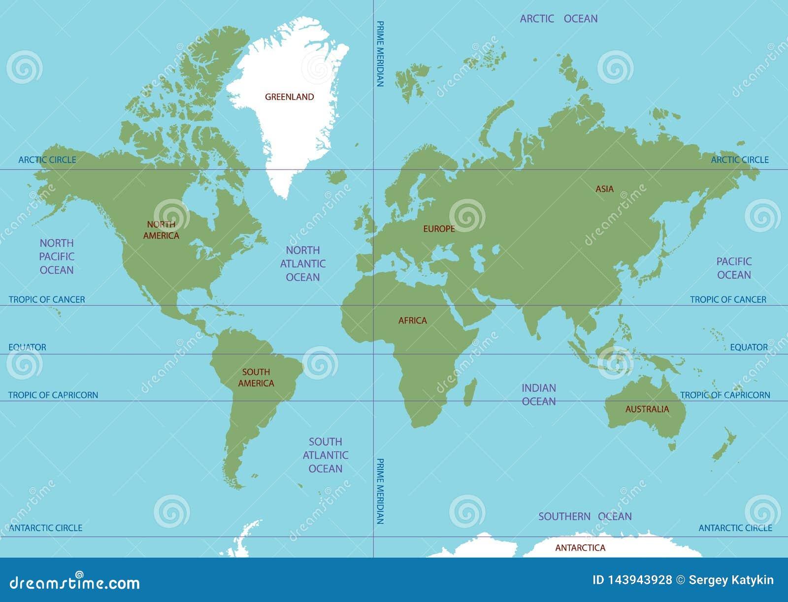 Carte De Vecteur Du Monde Oceans Et Continents Sur Une Projection Plate Illustration De Vecteur Illustration Du Projection Monde 143943928