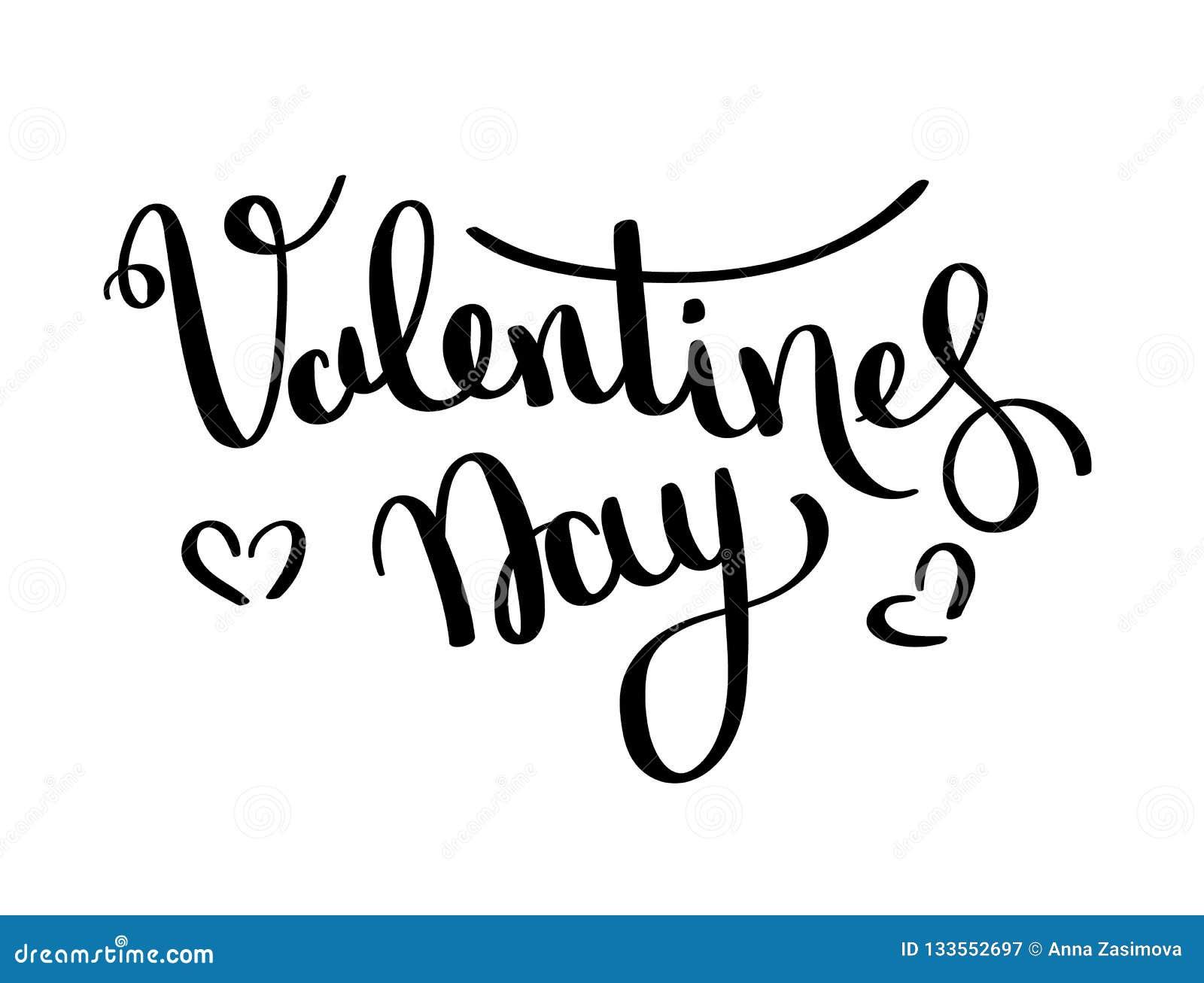 Carte de vecteur de jour de valentines Lettrage heureux de jour de valentines sur un fond blanc vecteur prêt d image d illustrati