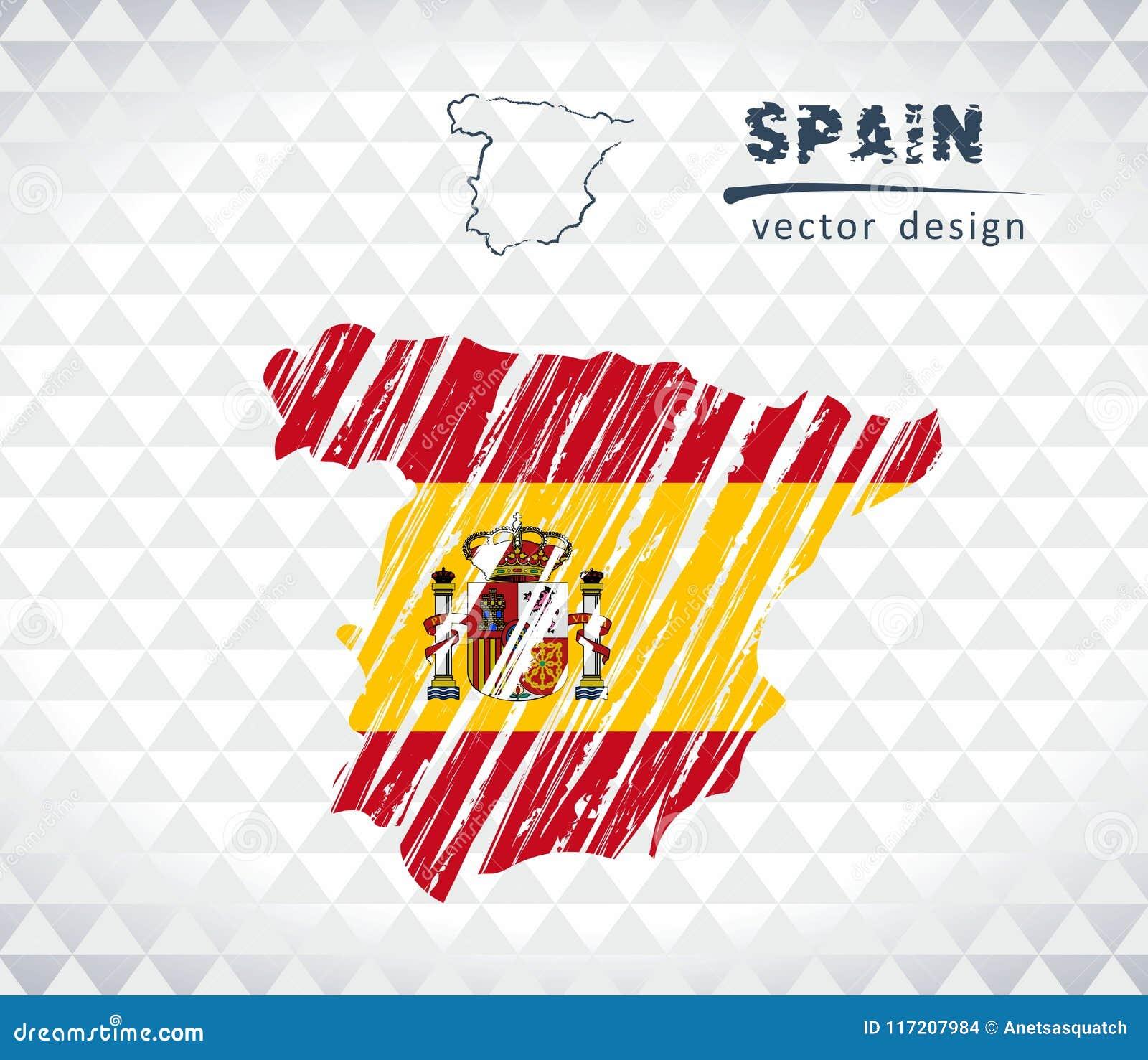 Carte de vecteur de l Espagne avec l intérieur de drapeau d isolement sur un fond blanc Illustration tirée par la main de craie d
