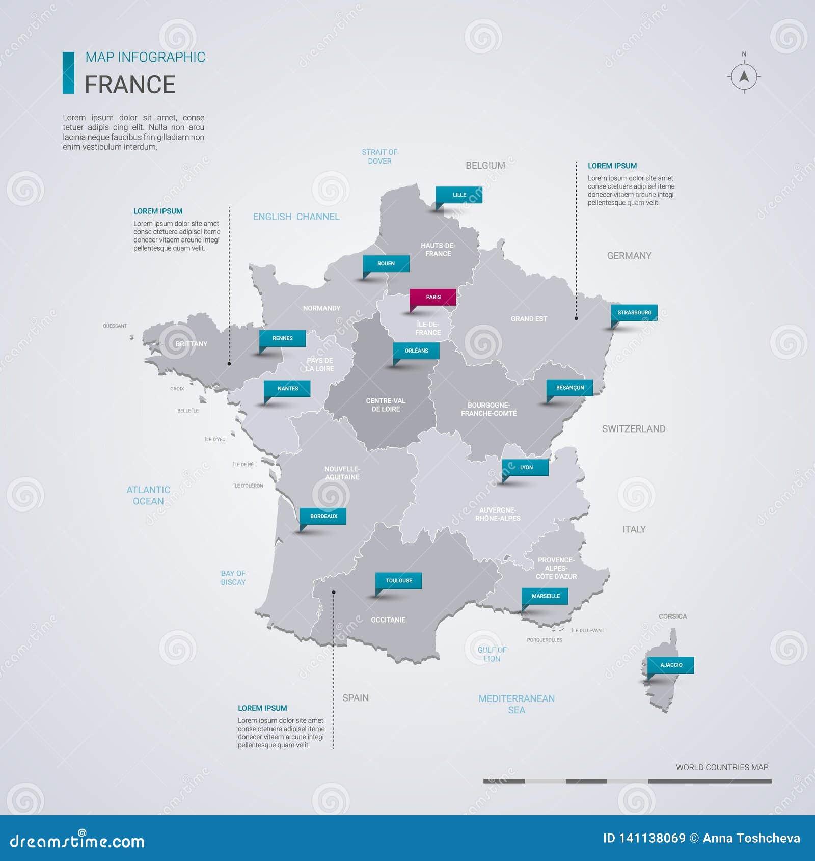 Carte De Vecteur De La France Avec Les éléments Infographic