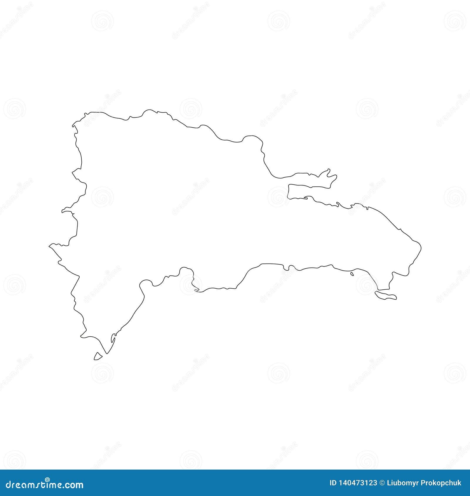 Carte de vecteur de la République Dominicaine d isolement sur le fond blanc Illustration détaillée élevée Décrit, découpe