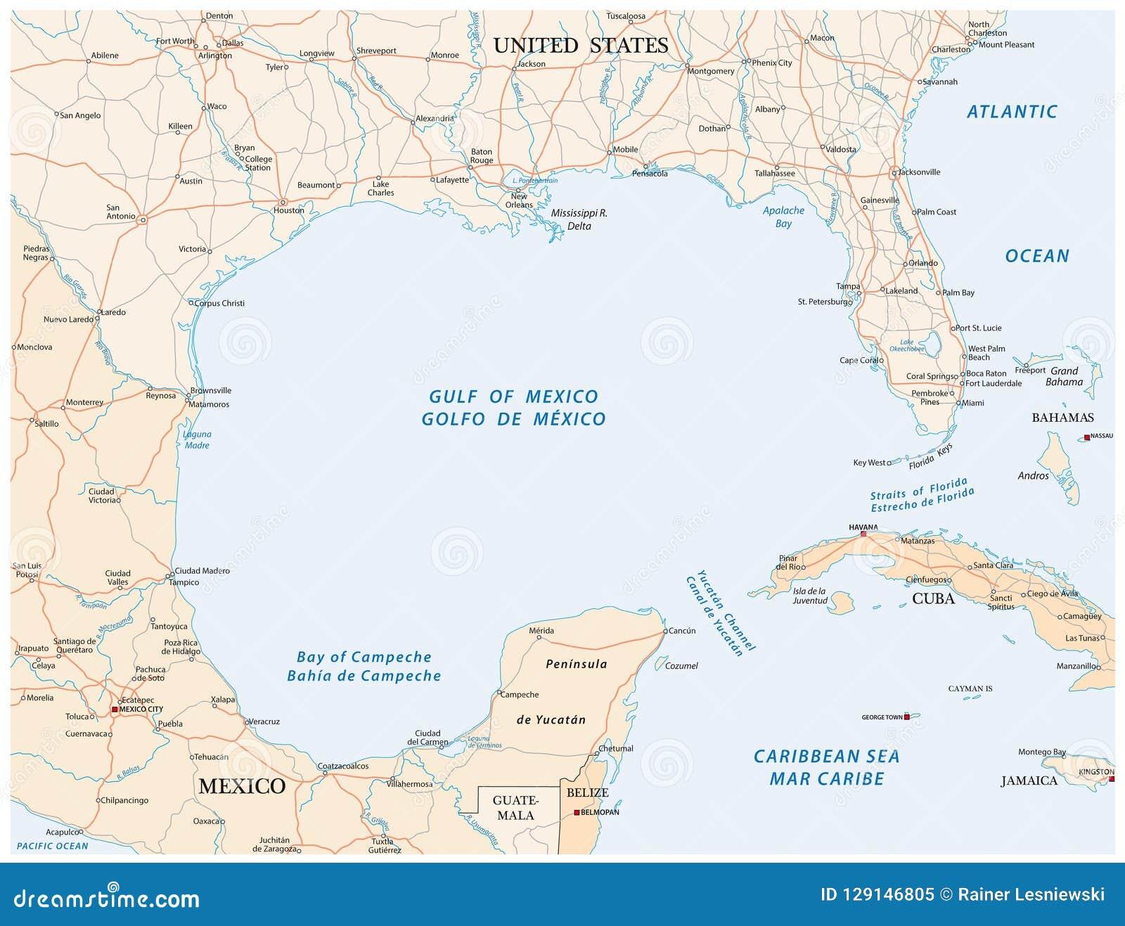 Carte De Vecteur De Route Du Golfe Du Mexique Illustration de Vecteur - Illustration du ...