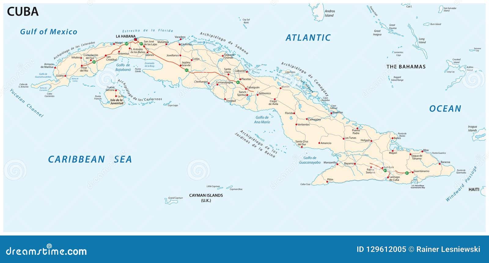 Carte Cuba Amerique.Carte De Vecteur De Route De La Republique De Cuba
