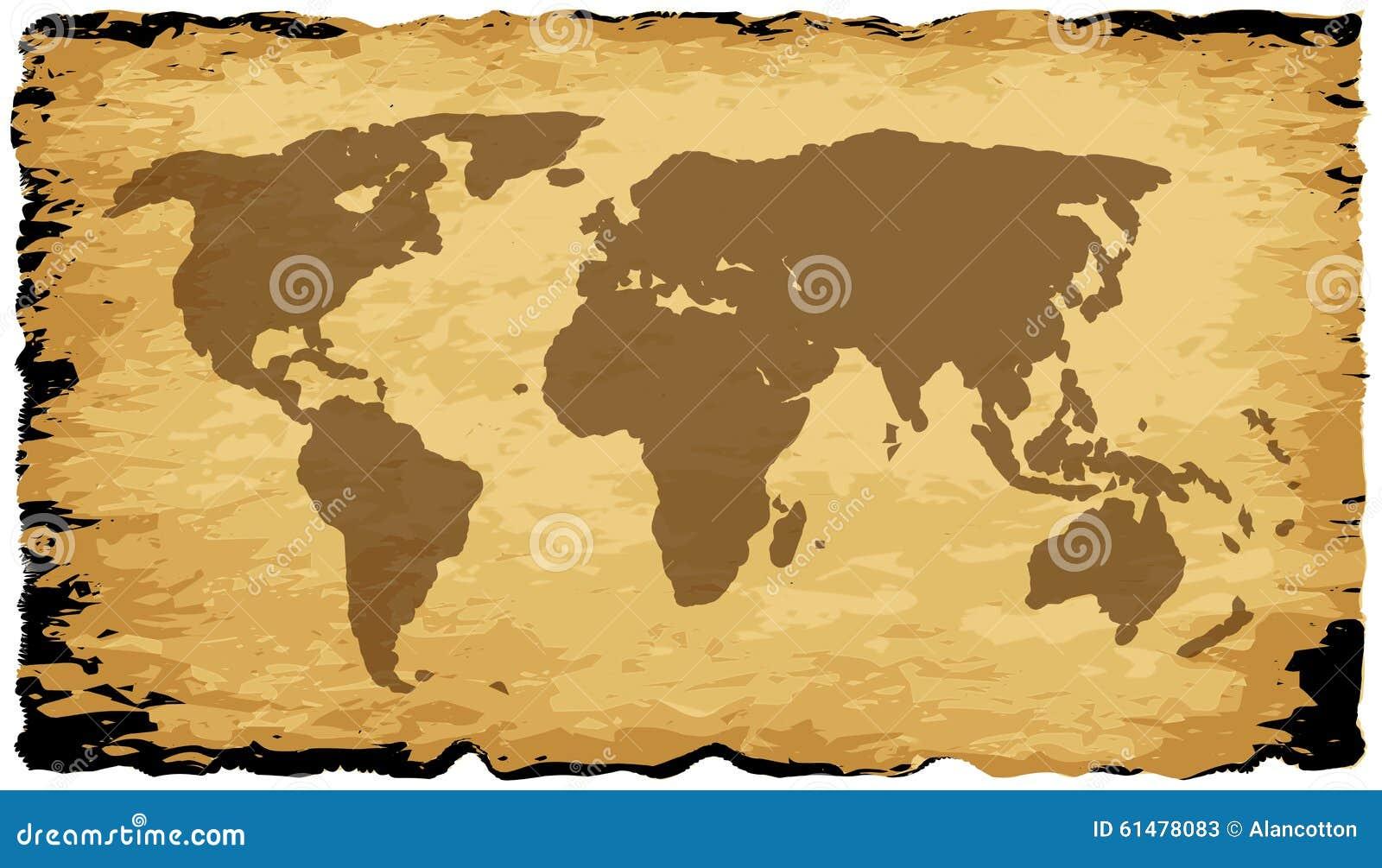 Carte Du Monde Parchemin carte de vieux monde sur le parchemin illustration stock