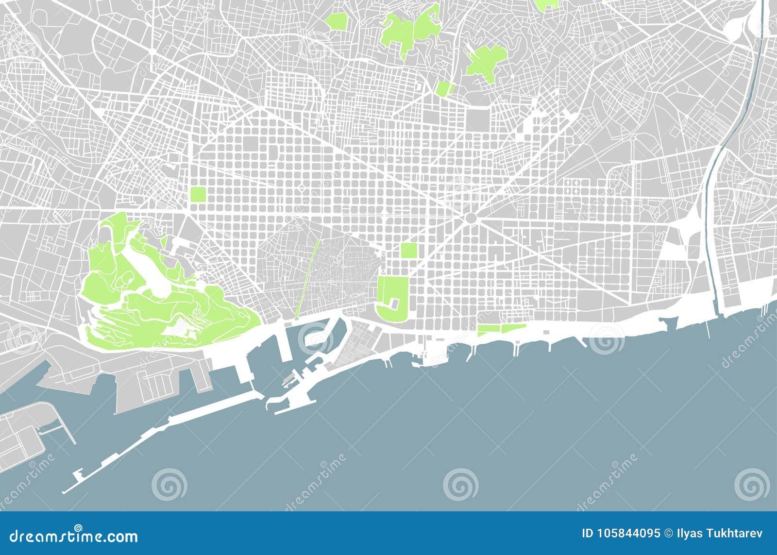 Carte Barcelone Place Despagne.Carte De Ville De Barcelone Espagne Illustration Stock