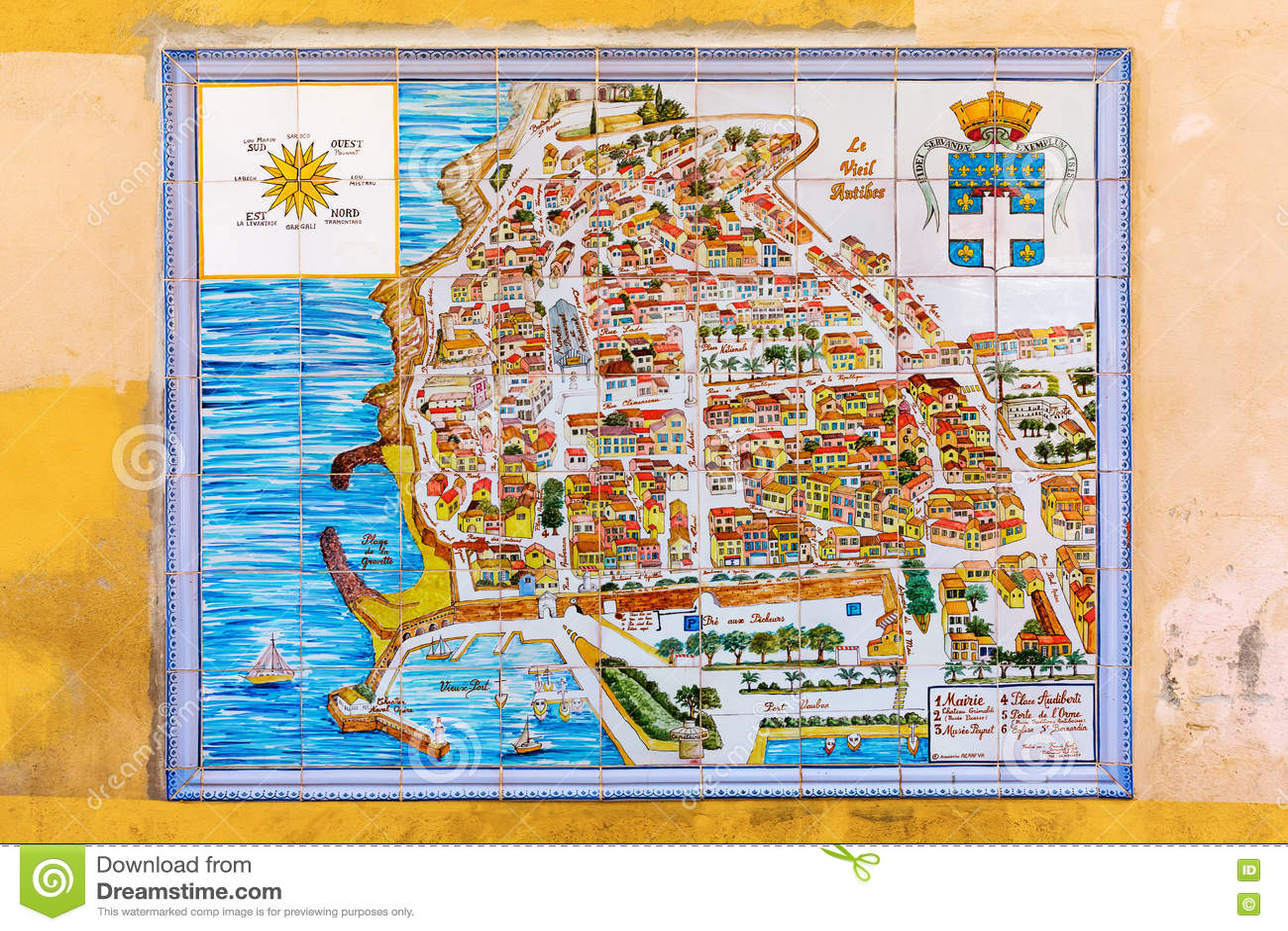 Carte De Ville Dantibes France Sur Des Tuiles De Mur