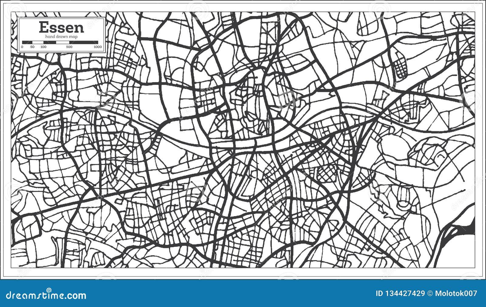 Carte de ville d Essen Allemagne dans le rétro style Illustration noire et blanche de vecteur
